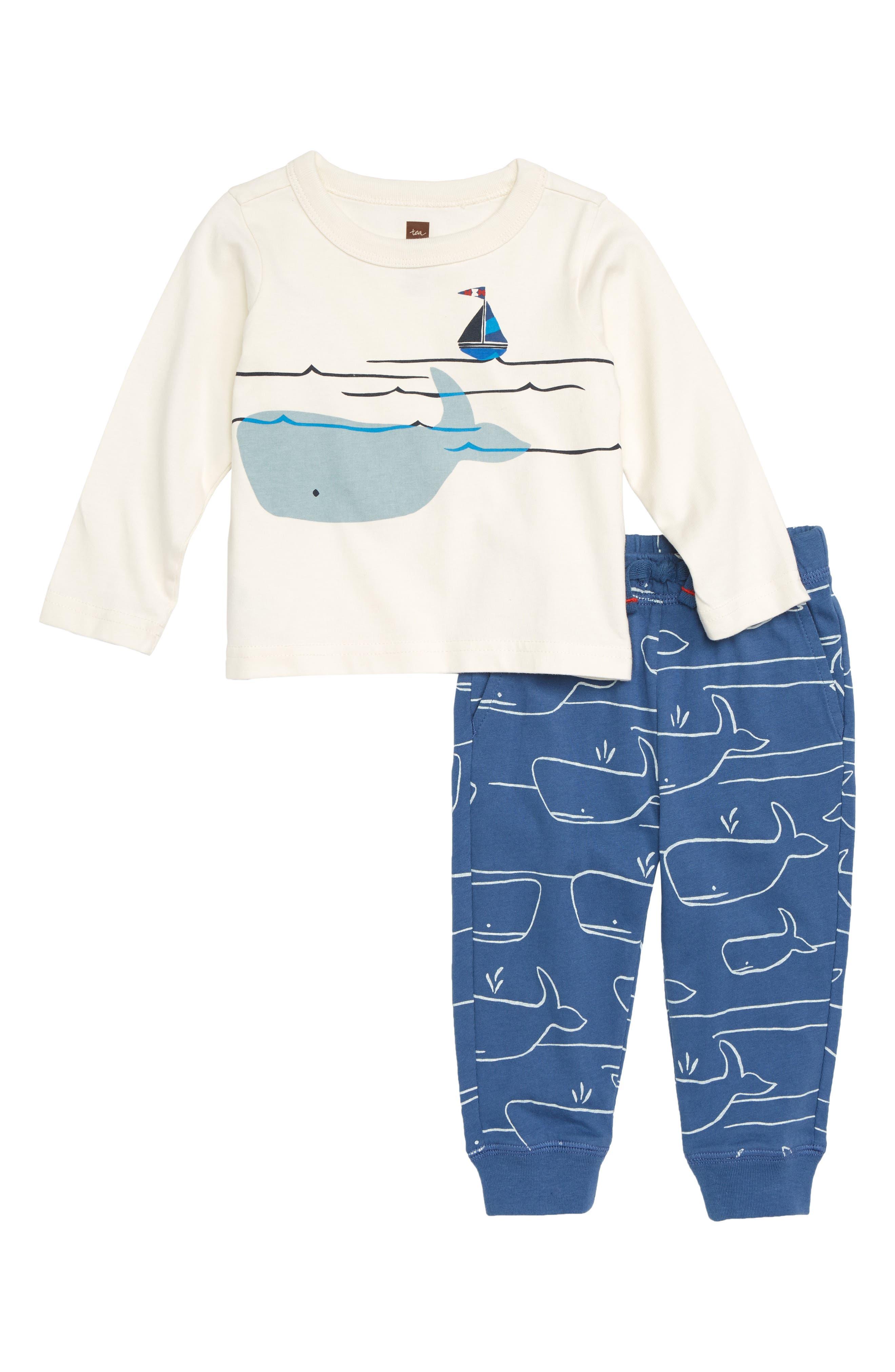 Diving Whale Graphic Shirt & Sweatpants Set,                             Main thumbnail 1, color,                             CHALK