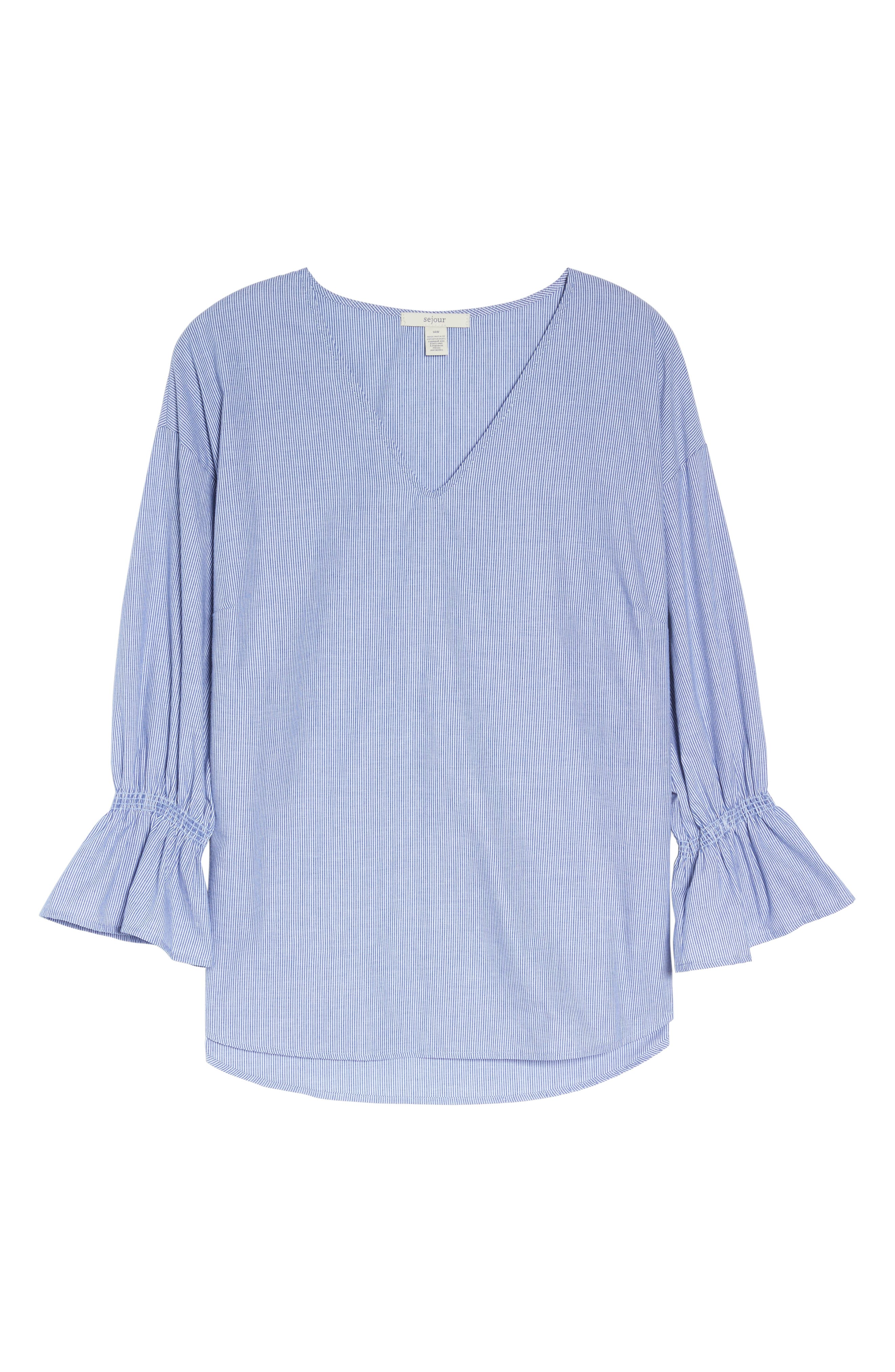 Pinstripe Bell Cuff Top,                             Alternate thumbnail 11, color,