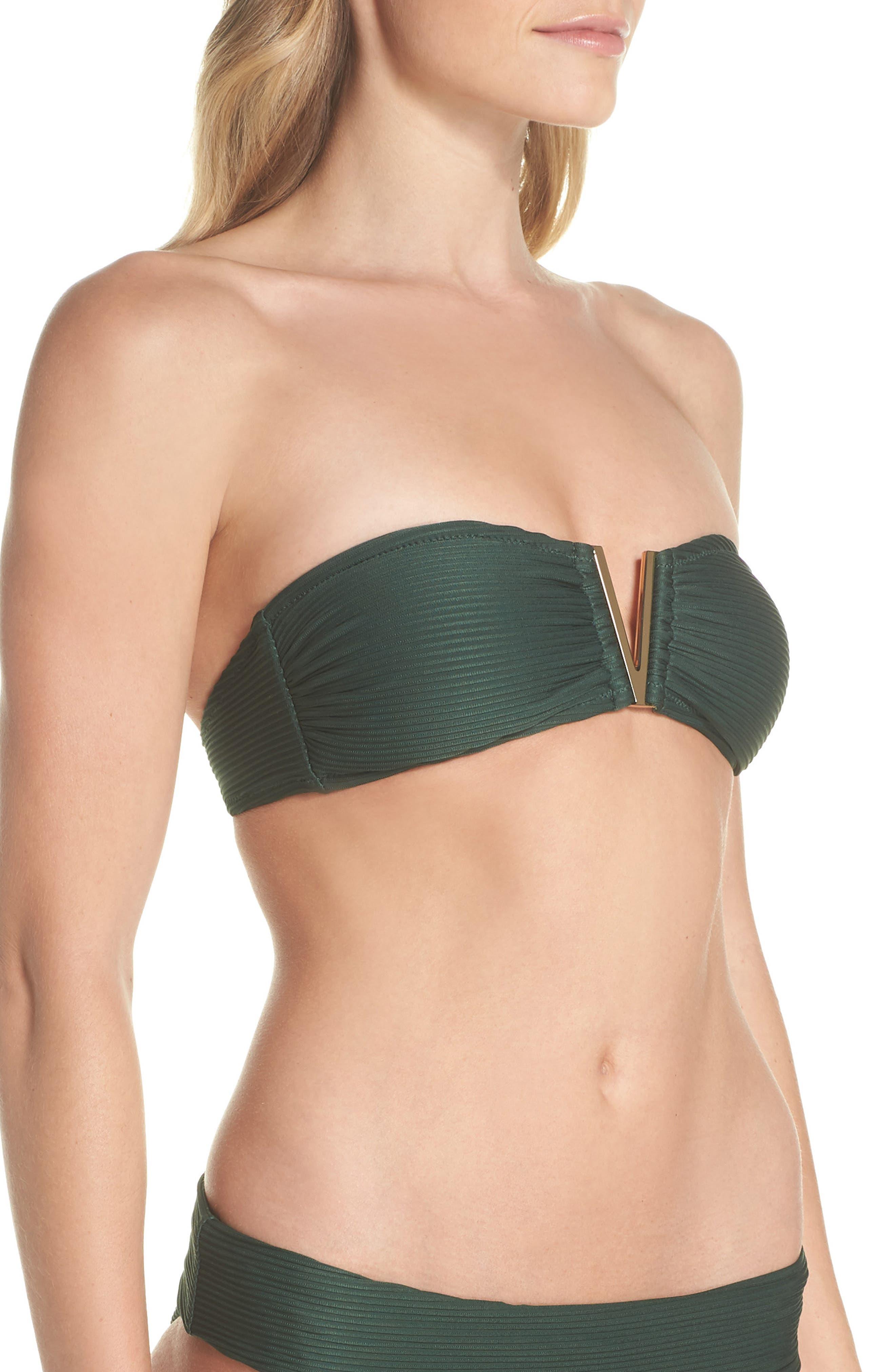 Bandeau Bikini Top,                             Alternate thumbnail 4, color,                             GREEN