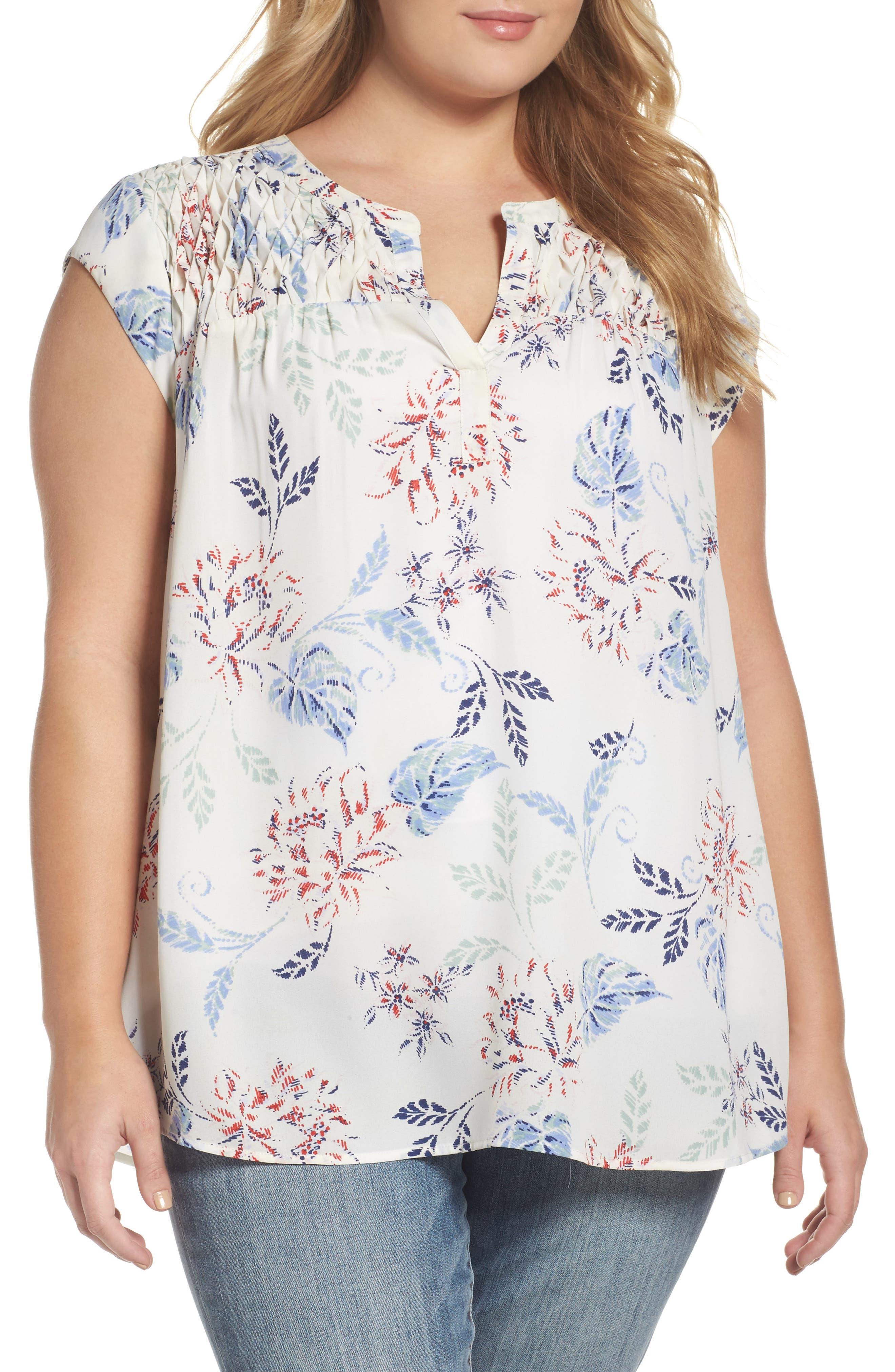 Floral Print Cap Sleeve Blouse,                             Main thumbnail 1, color,                             907