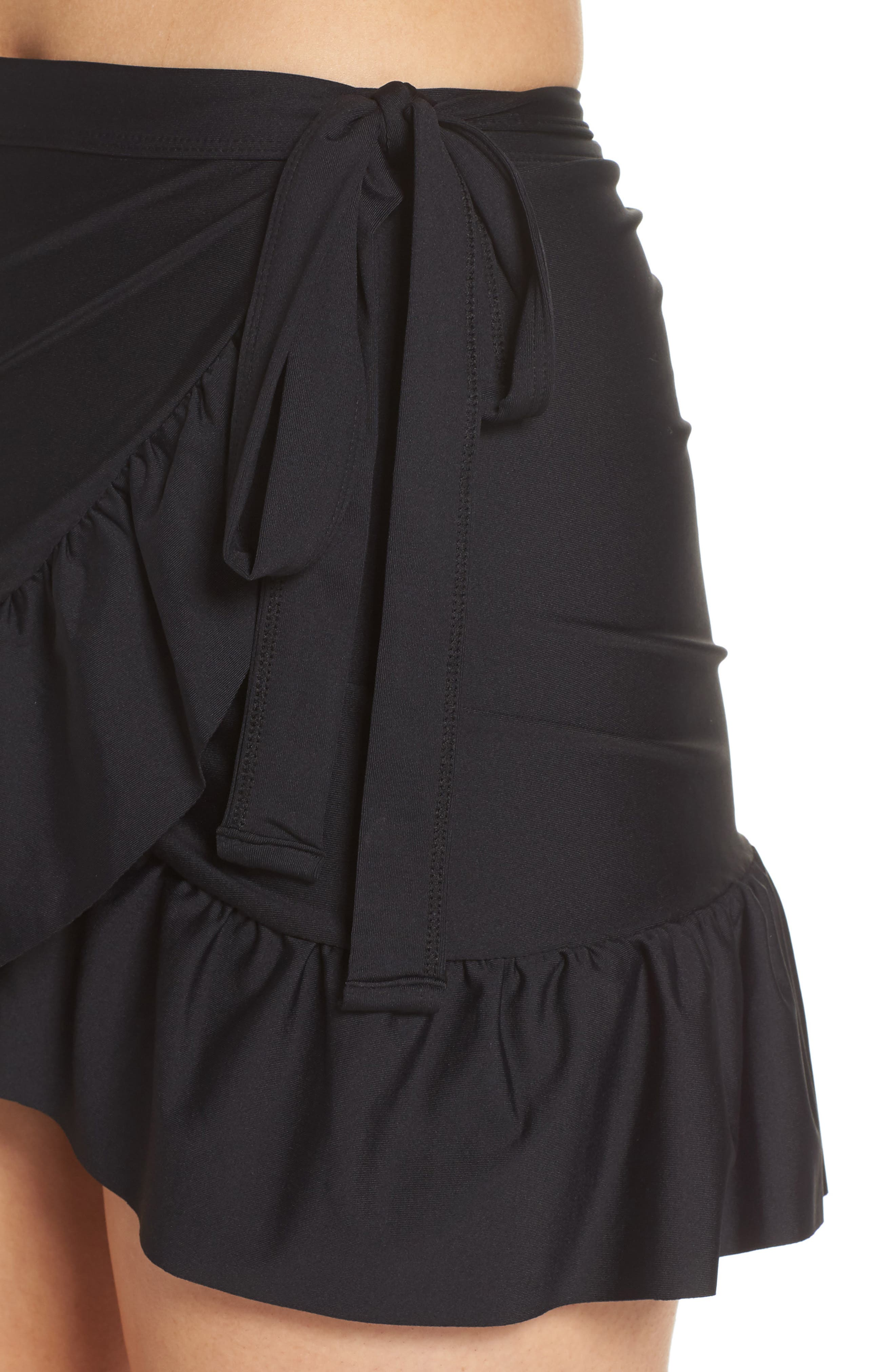 Cover-Up Wrap Skirt,                             Alternate thumbnail 4, color,                             001