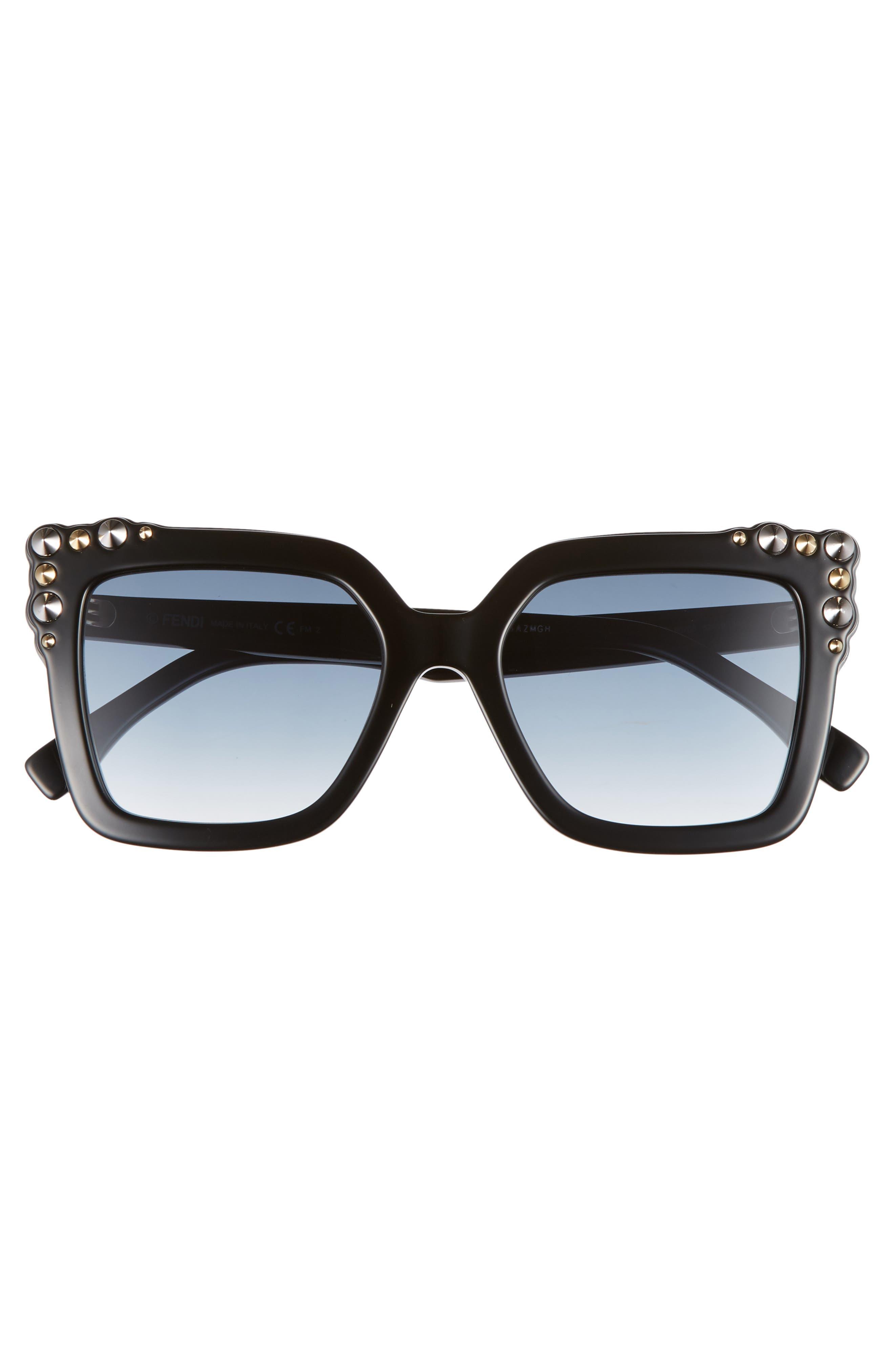 52mm Gradient Cat Eye Sunglasses,                             Alternate thumbnail 3, color,                             002