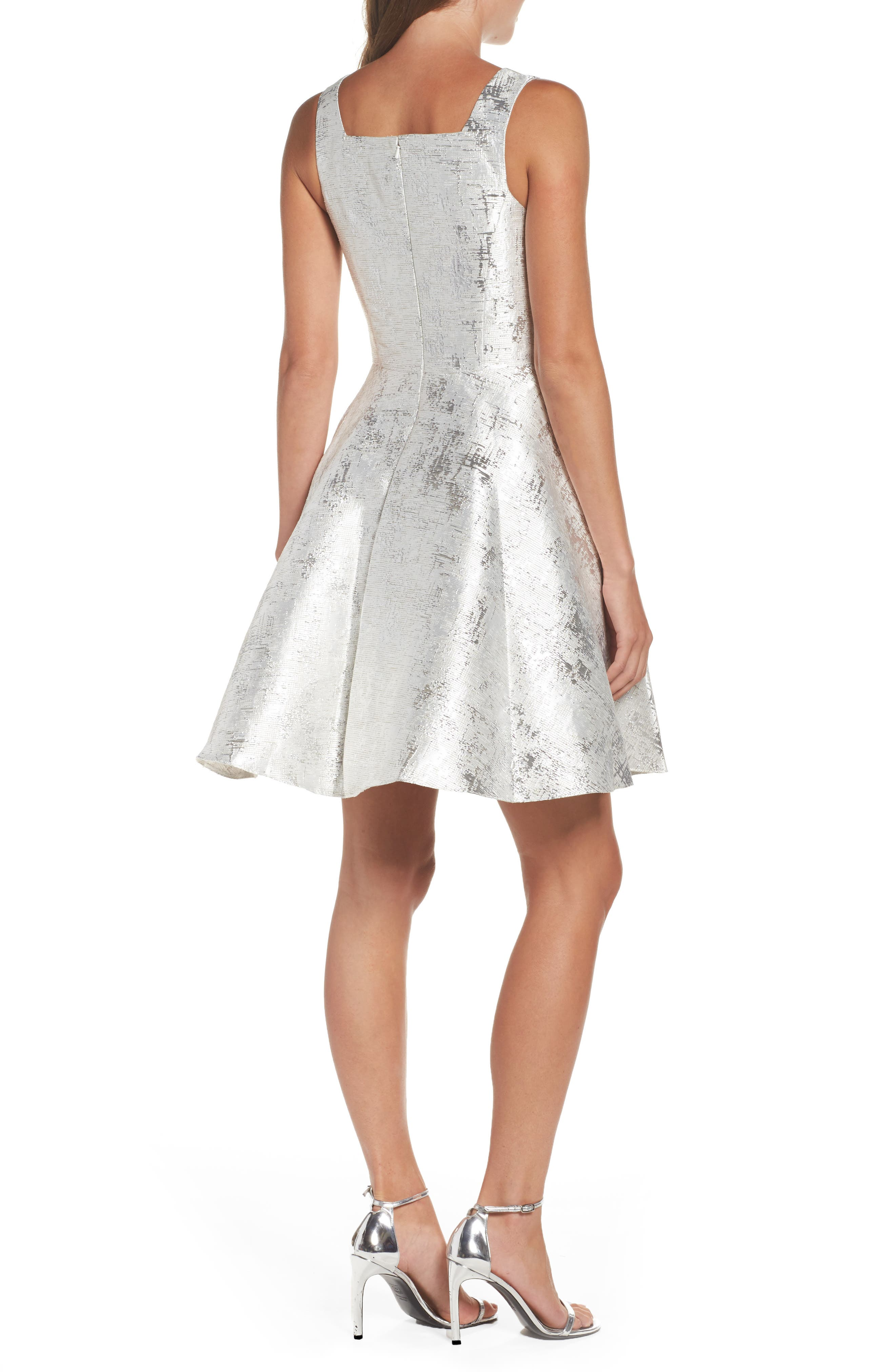 Embellished Metallic Fit & Flare Dress,                             Alternate thumbnail 2, color,                             044