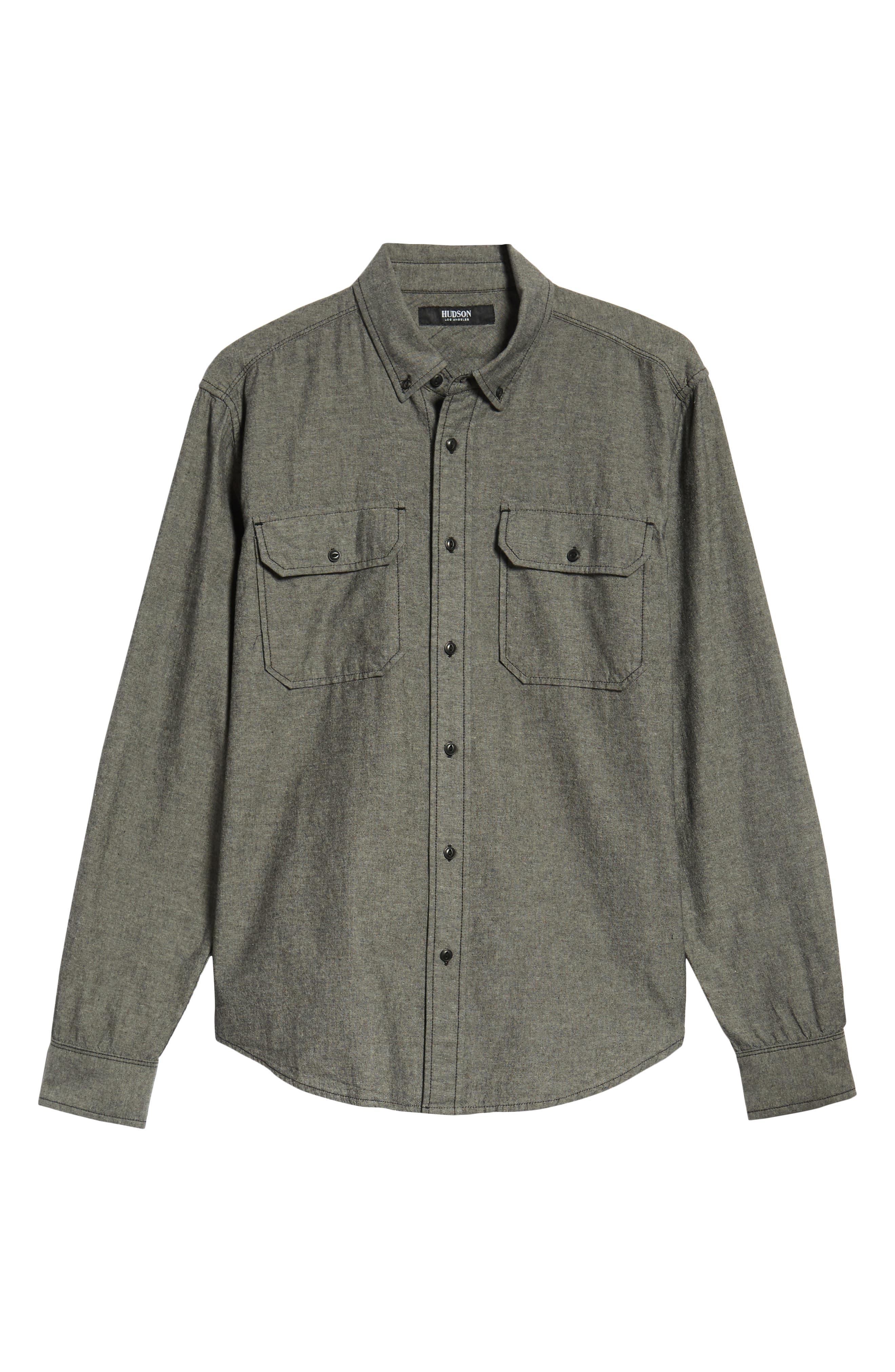Hudson Regular Fit Chambray Sport Shirt,                             Alternate thumbnail 6, color,                             035