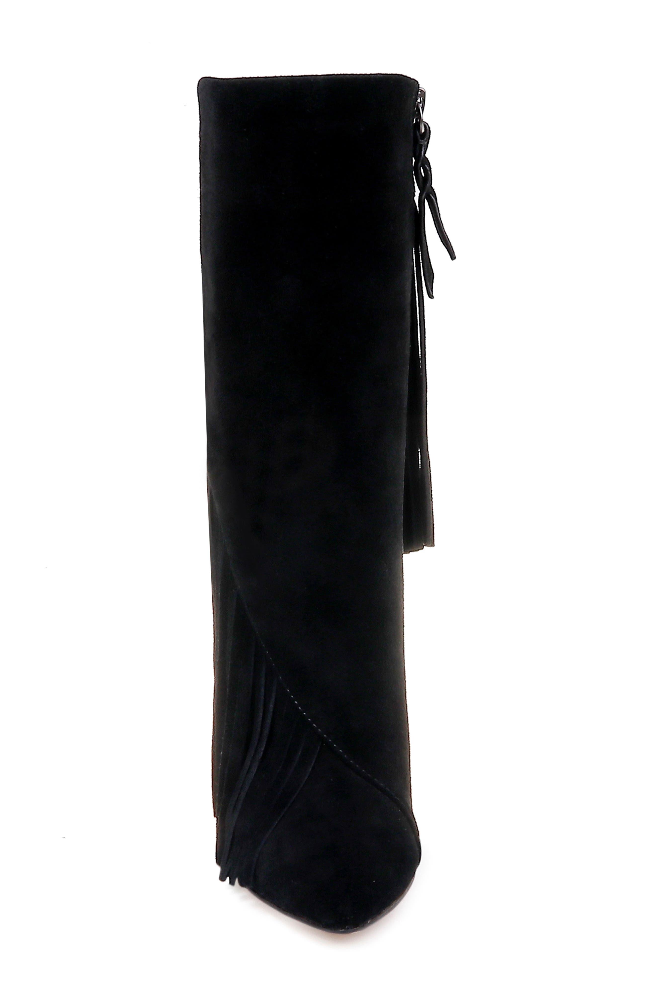 Camron Fringe Boot,                             Alternate thumbnail 4, color,                             BLACK SUEDE