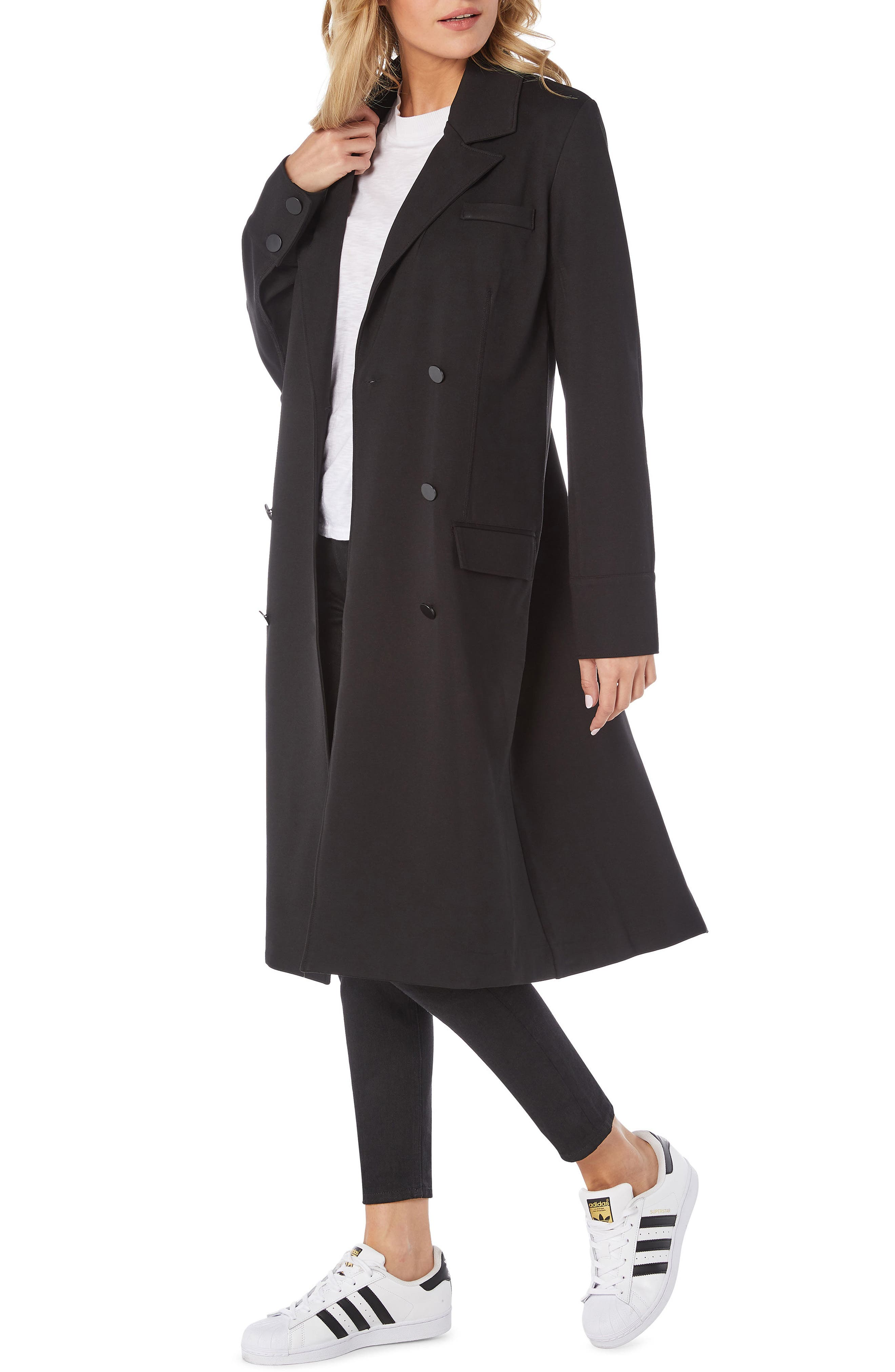 Ponte Coat,                             Alternate thumbnail 3, color,                             BLACK