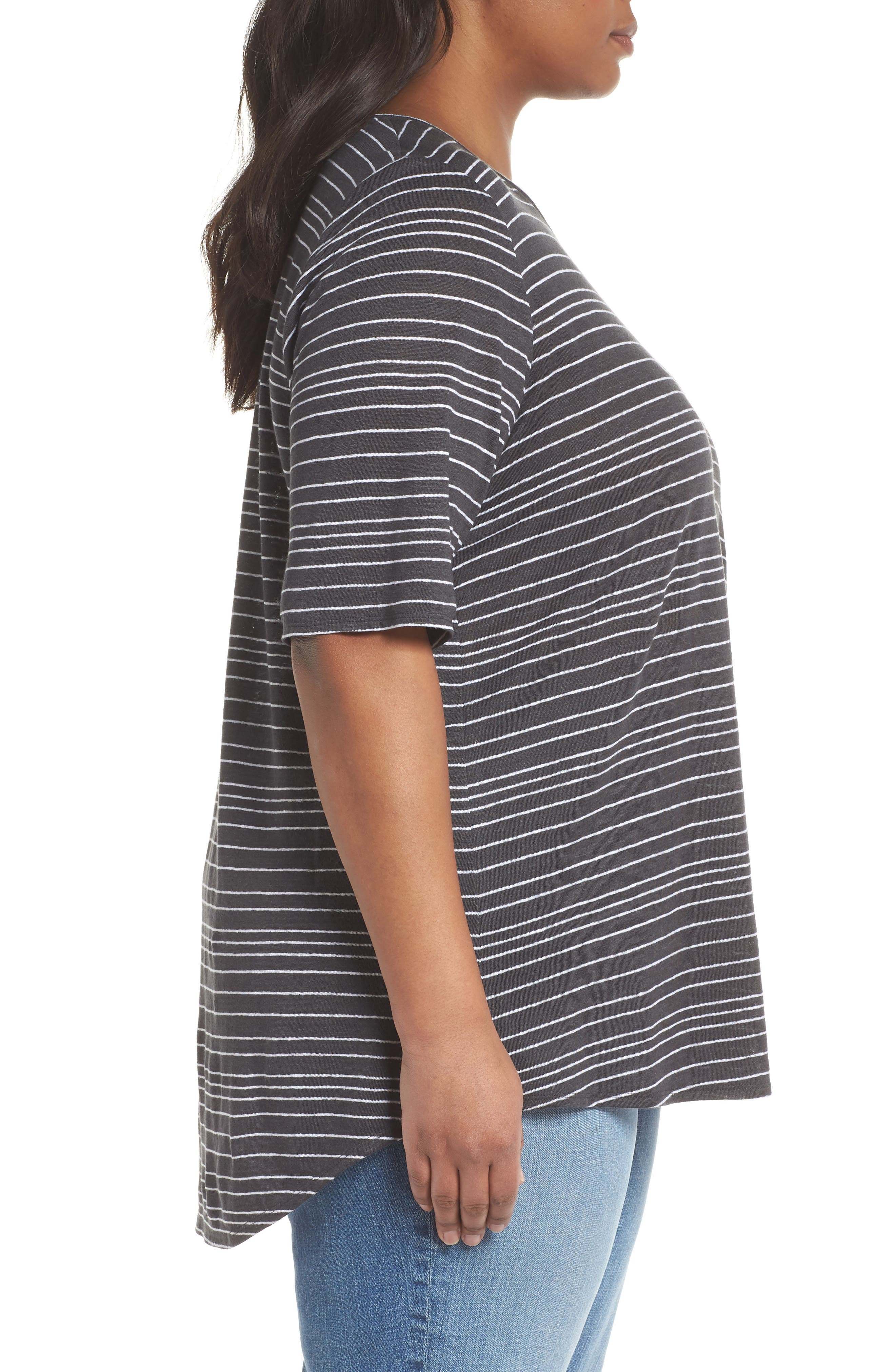 Stripe Organic Linen Top,                             Alternate thumbnail 5, color,