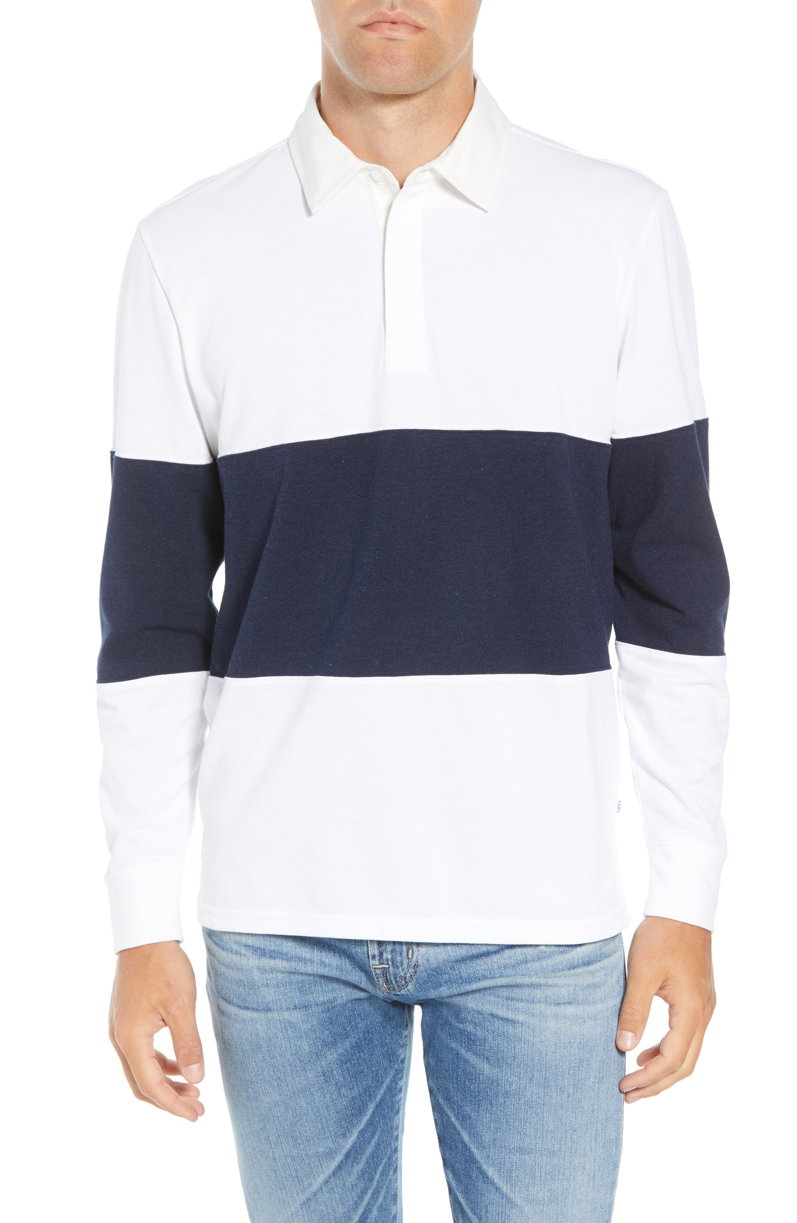 Regular Fit Rugby Piqué Polo,                             Main thumbnail 1, color,                             NAVY BLAZER WHITE