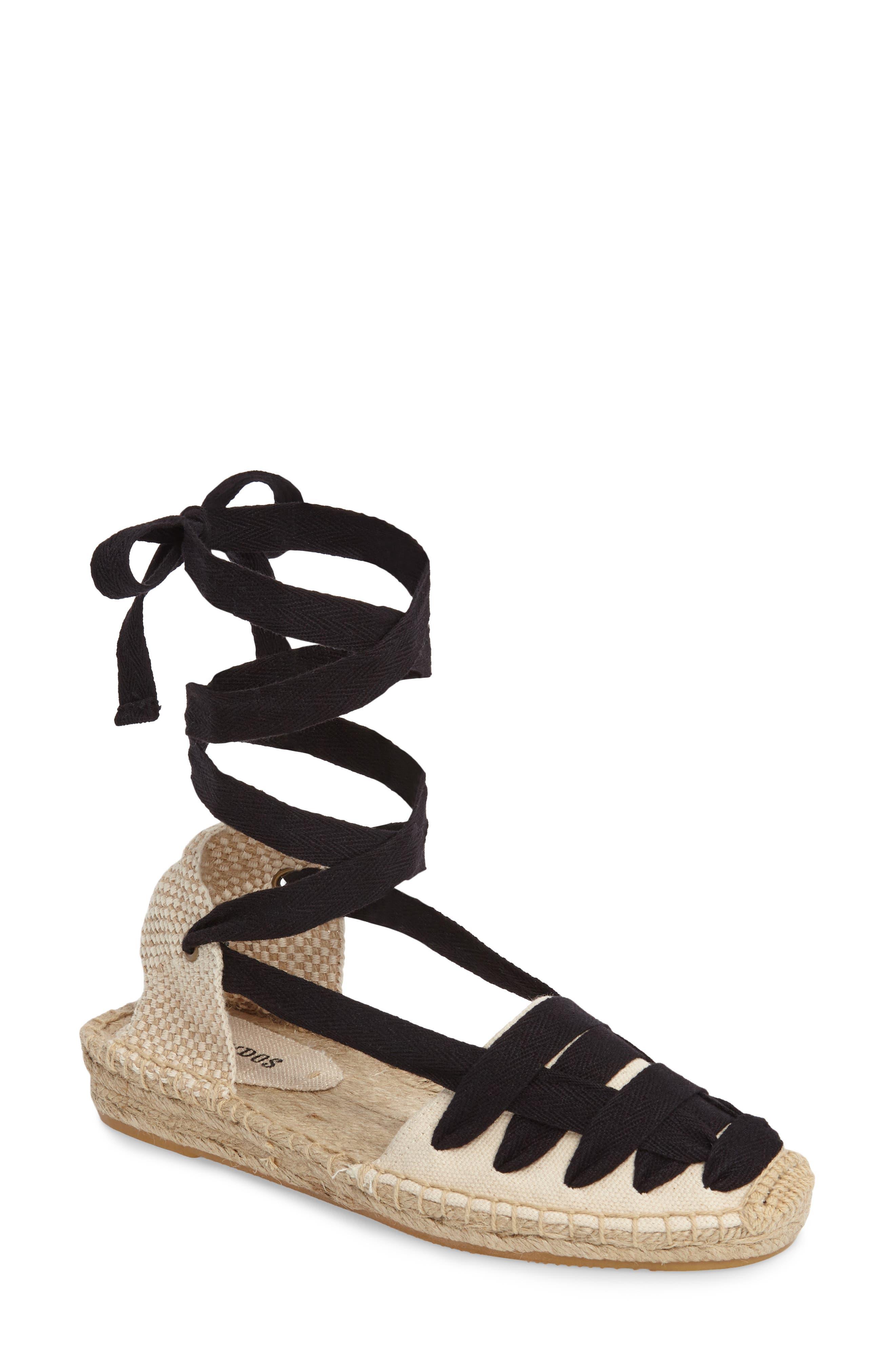 Lace-Up Espadrille Sandal,                         Main,                         color, 001