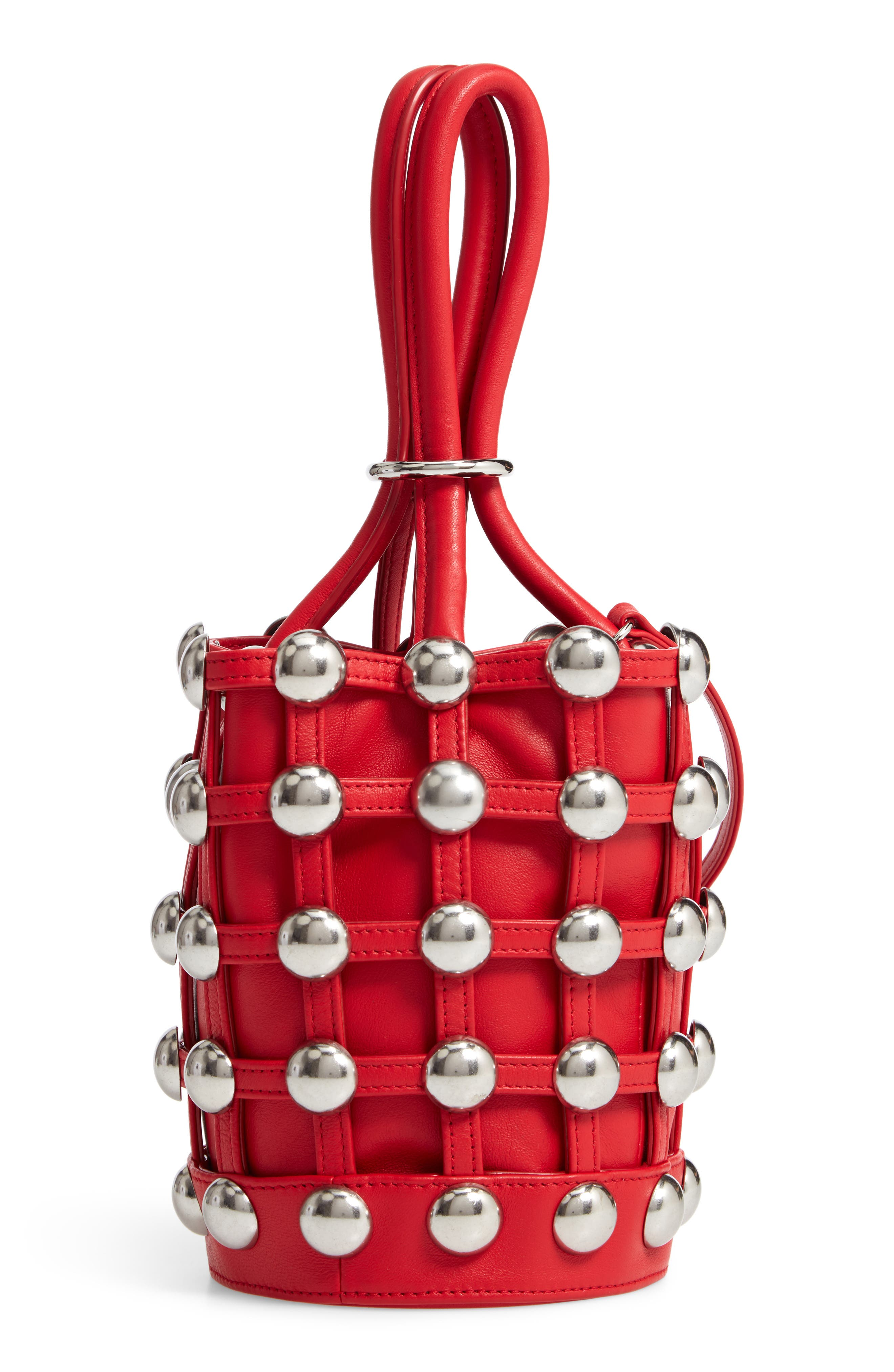 Mini Roxy Studded Cage Leather Bucket Bag, Main, color, RED