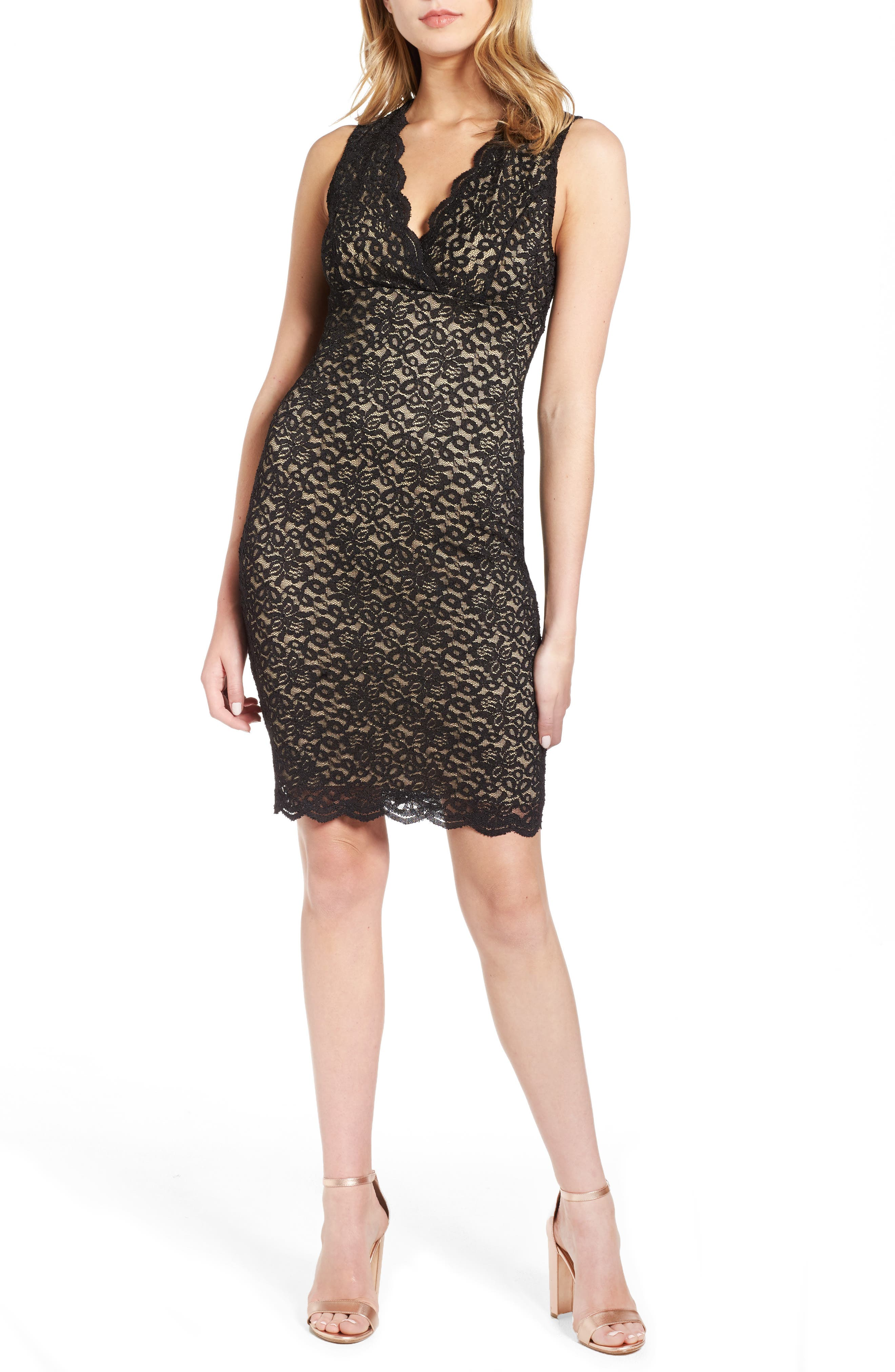 Lace Body Con Dress,                             Main thumbnail 1, color,                             001