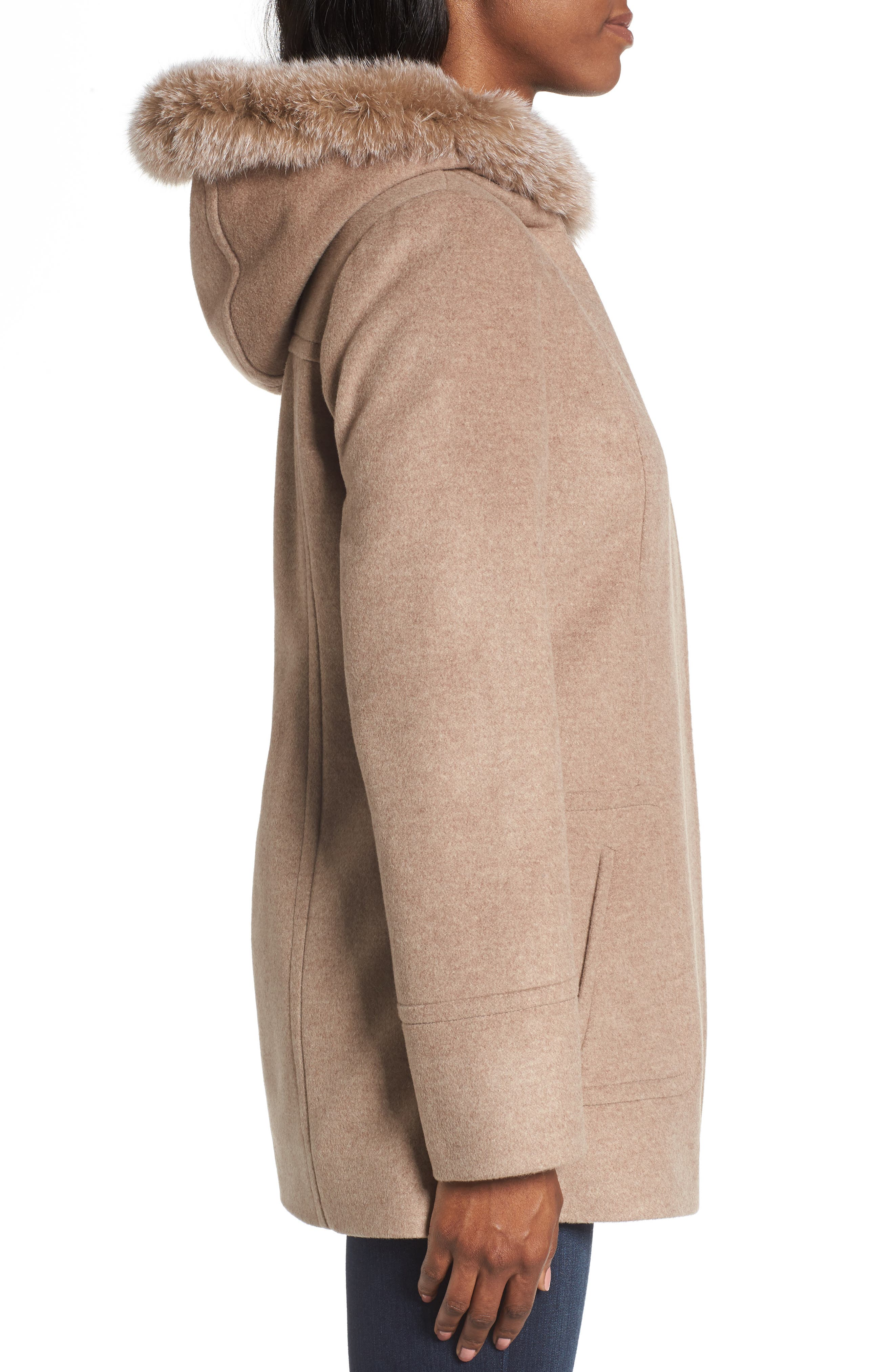 Hooded Wool Blend Coat with Genuine Fox Fur Trim,                             Alternate thumbnail 8, color,