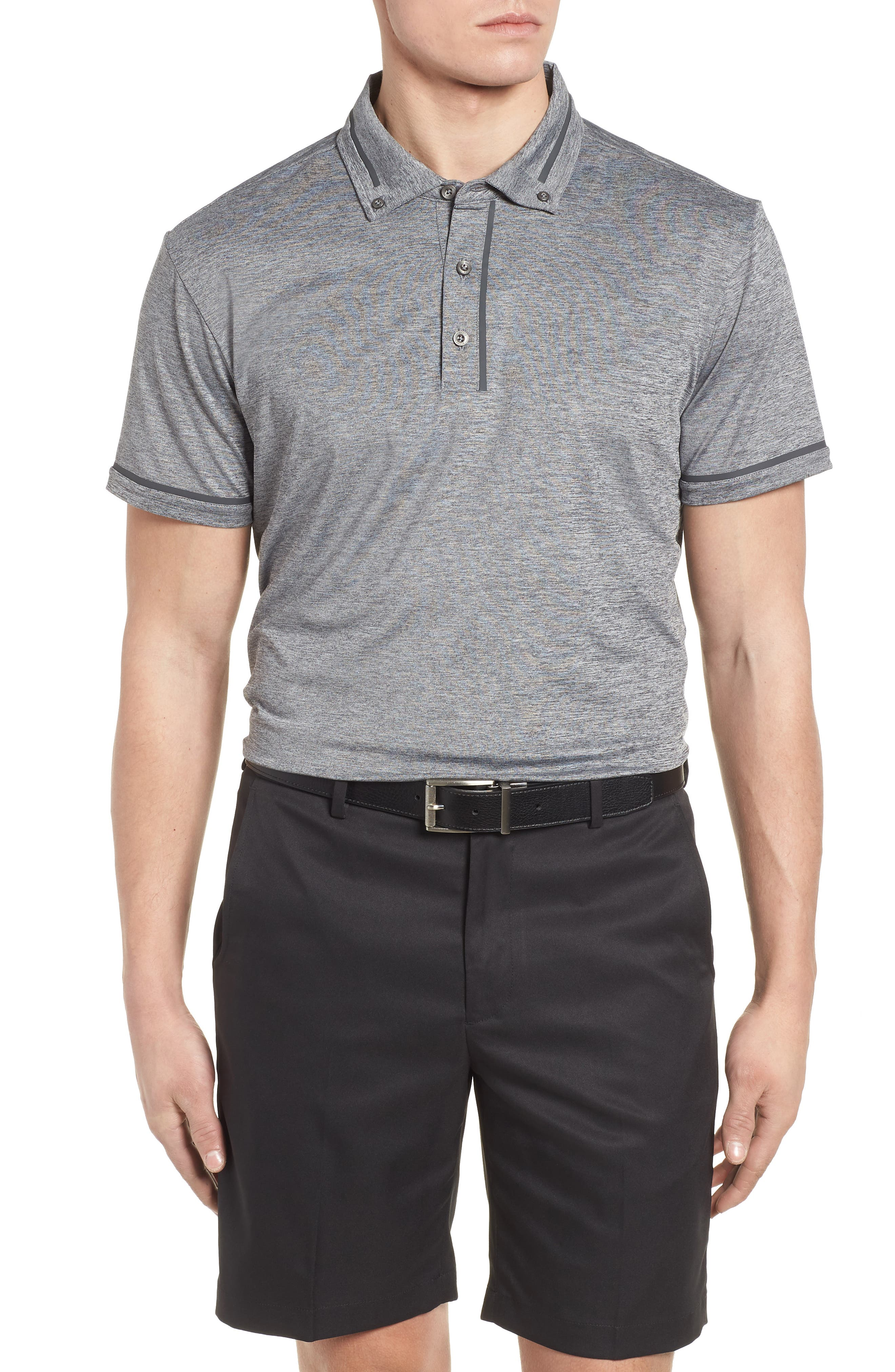 R18 Tech Chapman Welded Trim Polo,                             Main thumbnail 1, color,                             CHARCOAL HEATHER