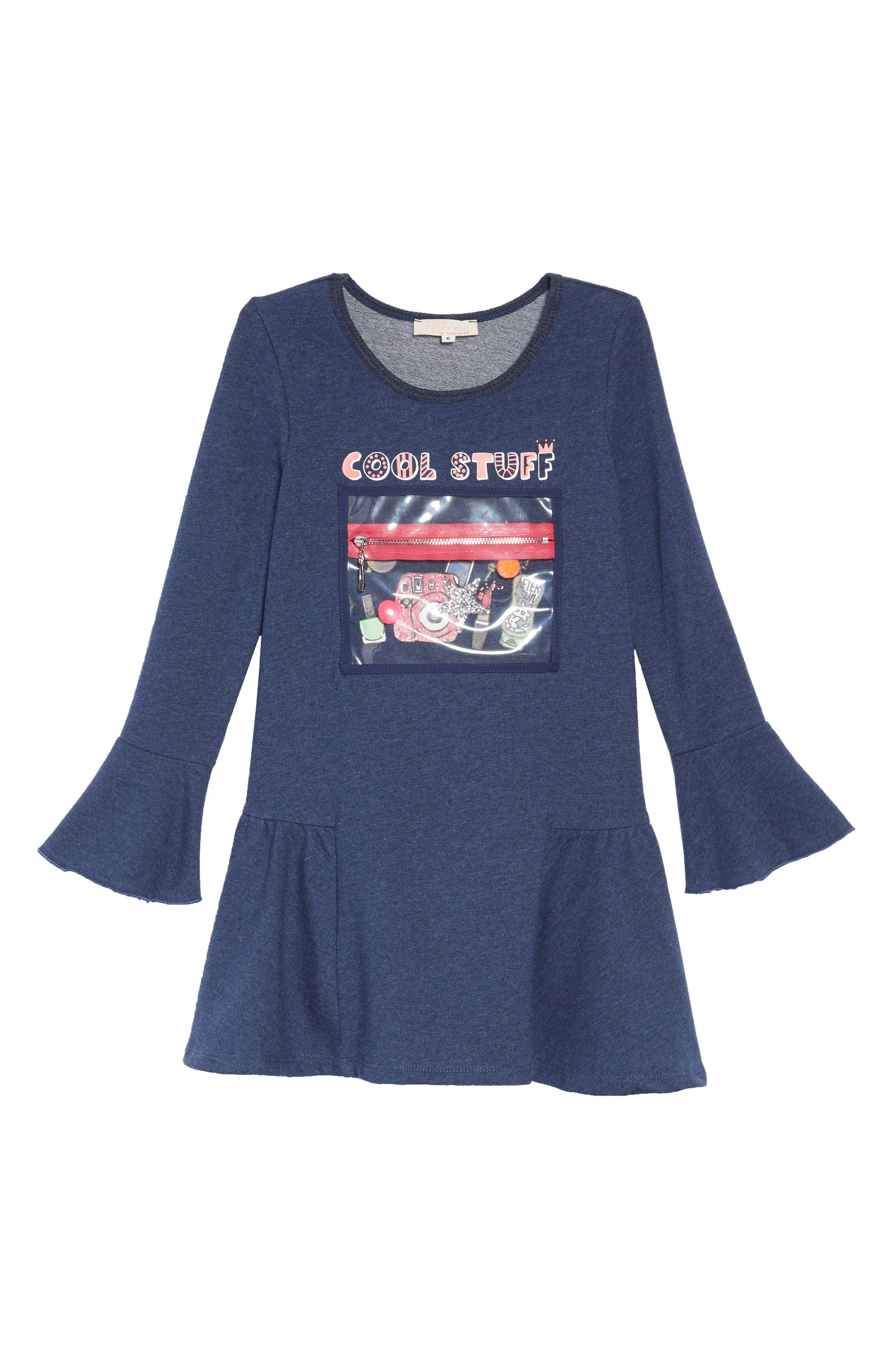 Cool Stuff Knit Dress with Zip Pouch,                             Alternate thumbnail 2, color,                             NAVY