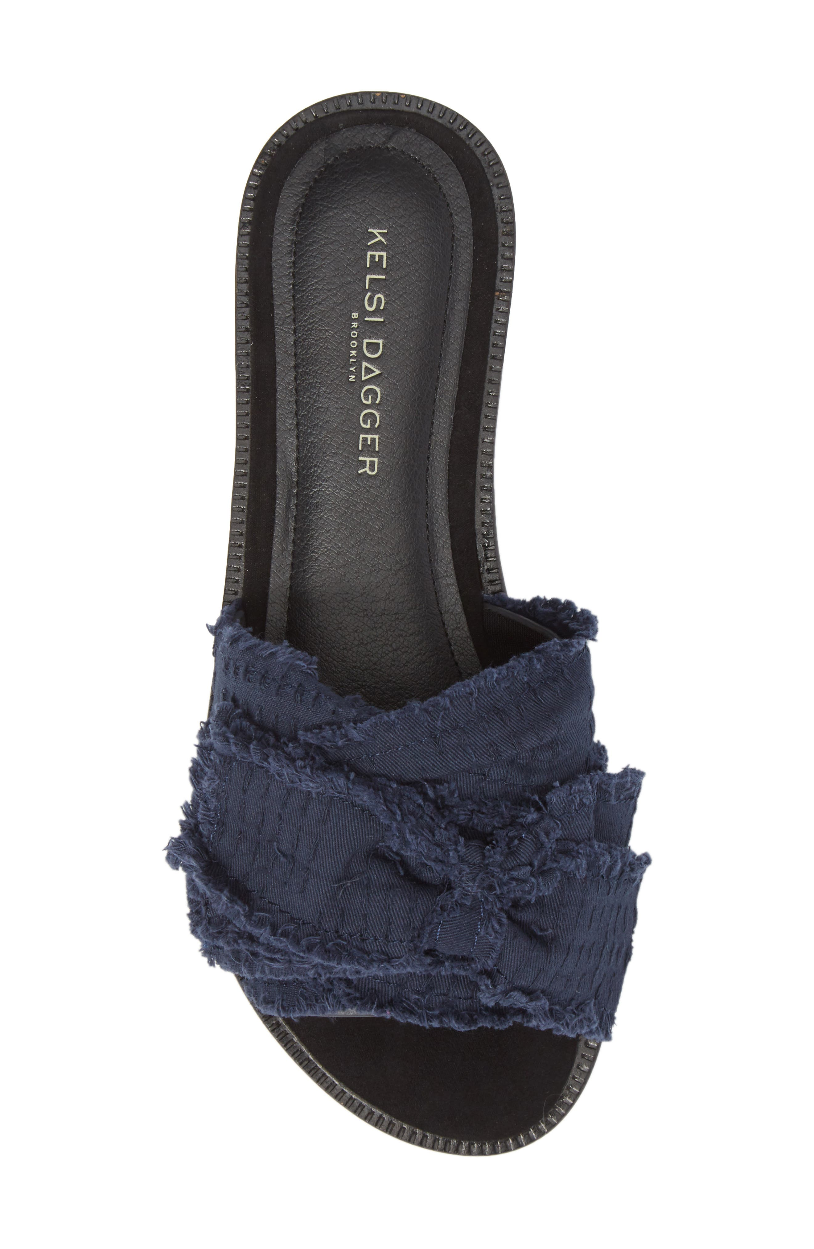 Revere Bow Slide Sandal,                             Alternate thumbnail 5, color,                             BLACK/ NAVY LEATHER