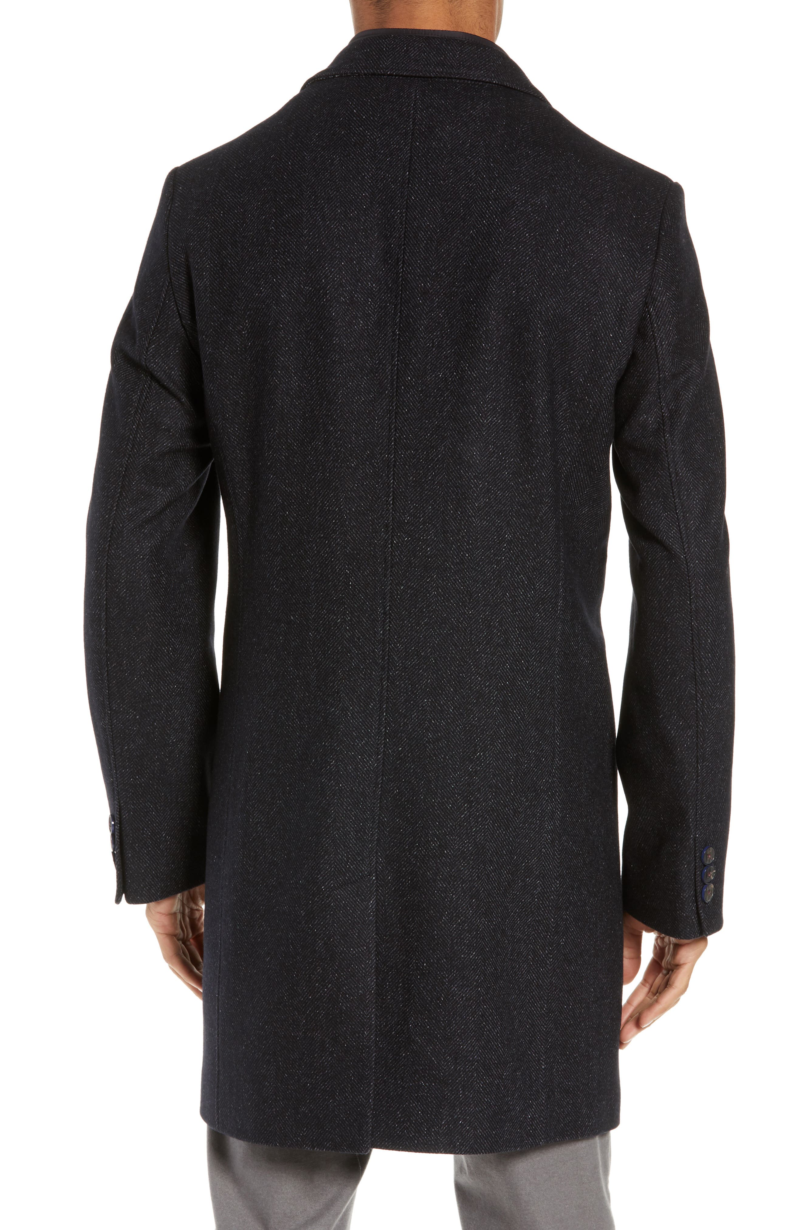 Herringbone Wool Blend Overcoat,                             Alternate thumbnail 2, color,                             NAVY