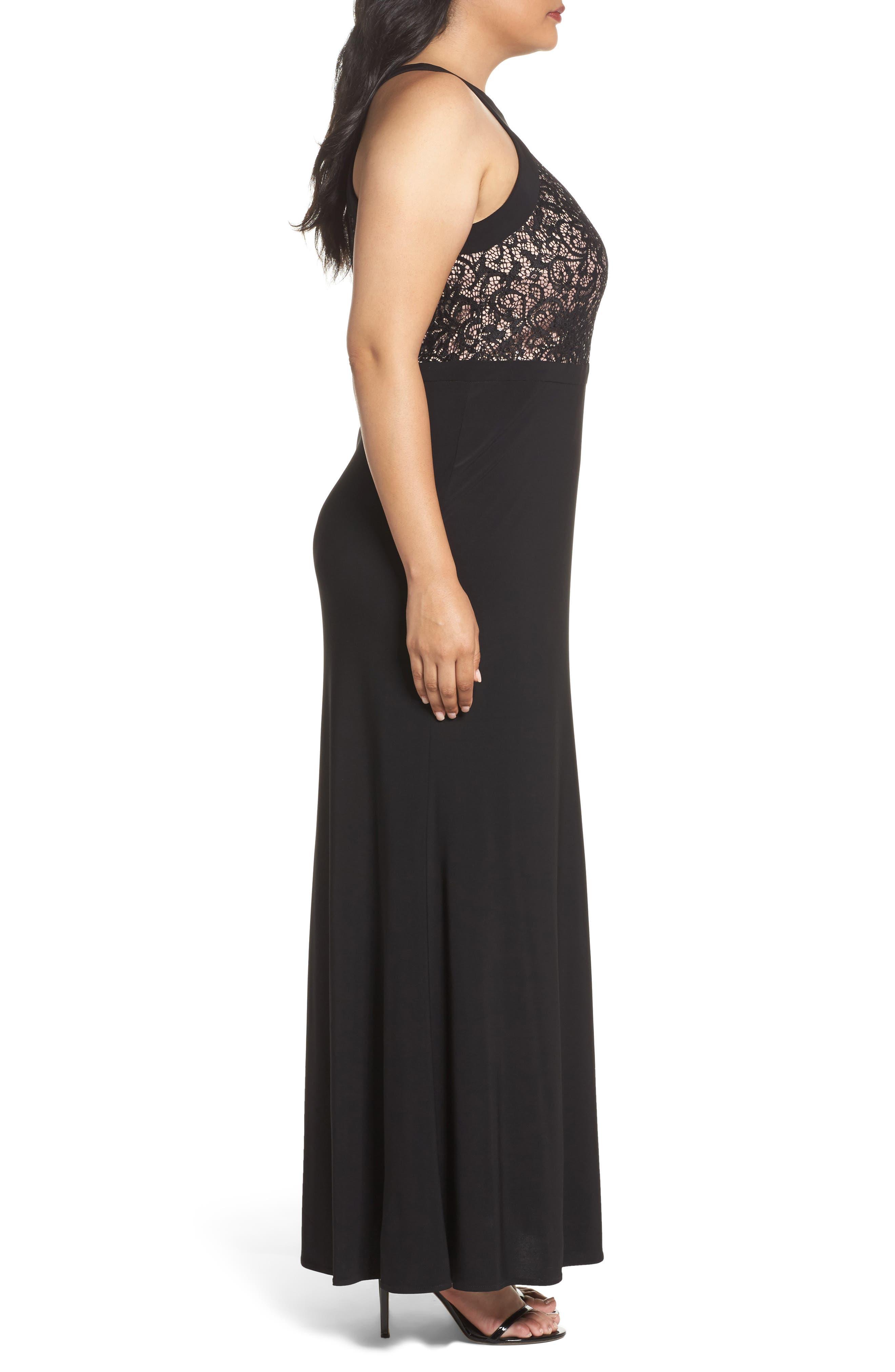 MORGAN & CO.,                             Lace Bodice Dress,                             Alternate thumbnail 3, color,                             BLACK/ NUDE