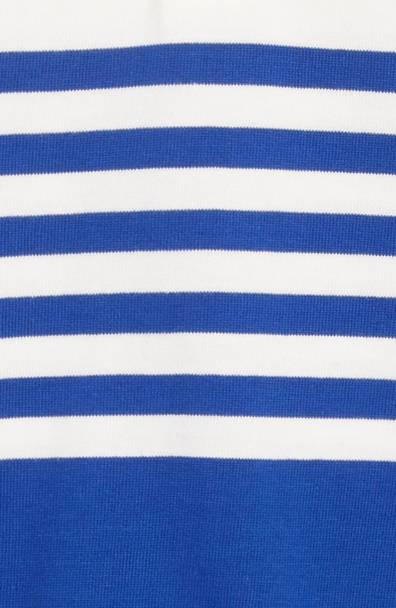 Cotton Polo Romper,                             Alternate thumbnail 2, color,                             MILK/ ELECTRIC BLUE
