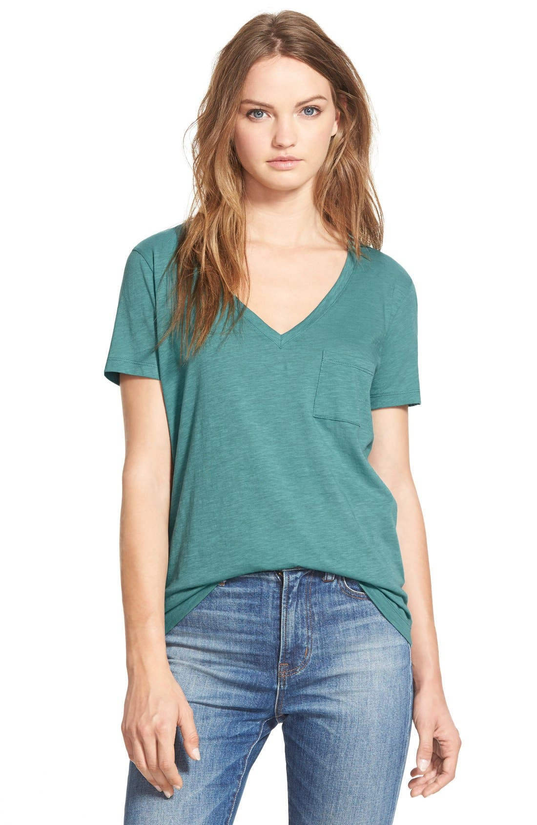 Whisper Cotton V-Neck Pocket Tee,                             Main thumbnail 22, color,