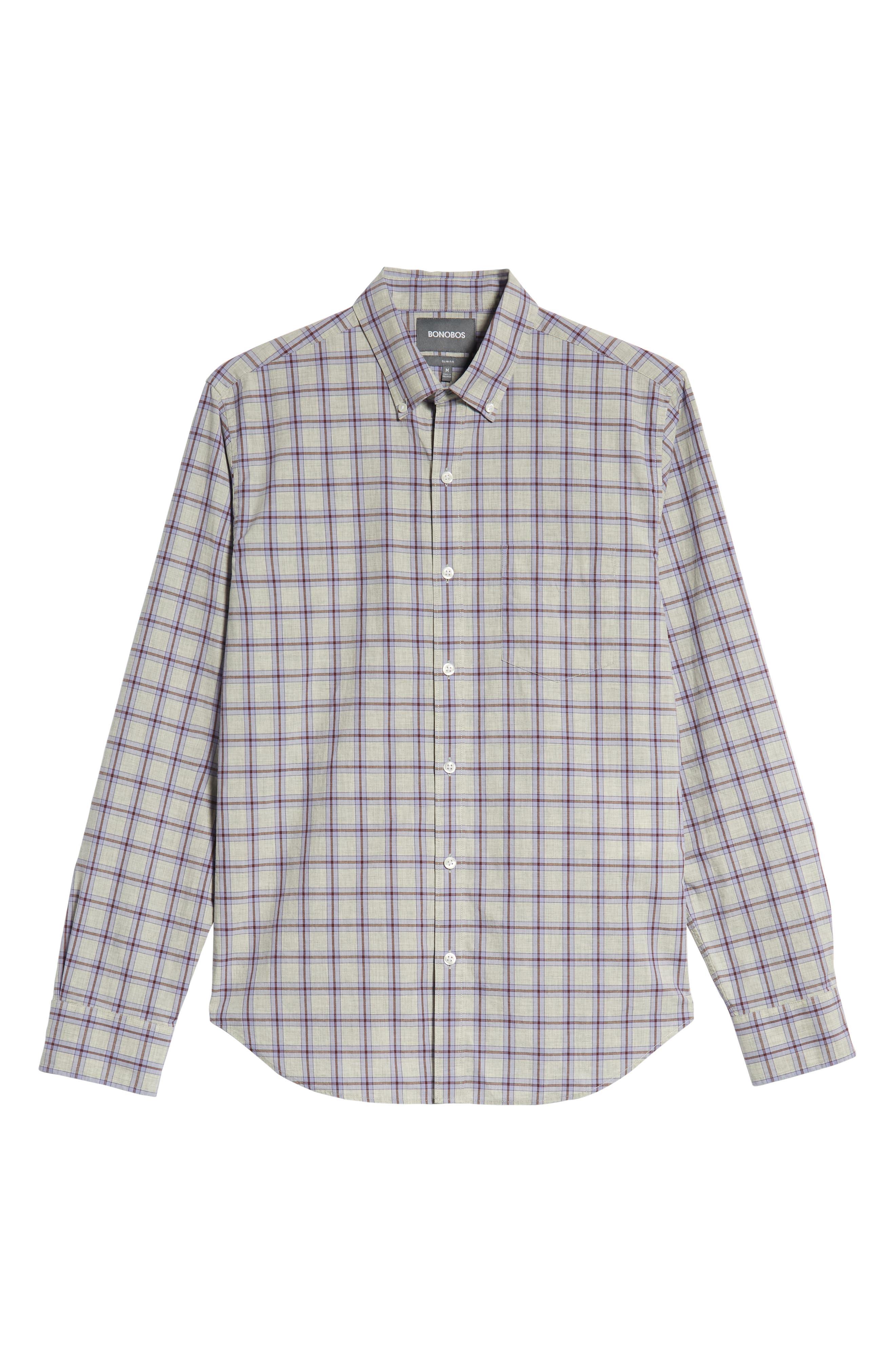Slim Fit Washed Check Sport Shirt,                             Alternate thumbnail 5, color,                             STONEGATE CHECK - AZULENE