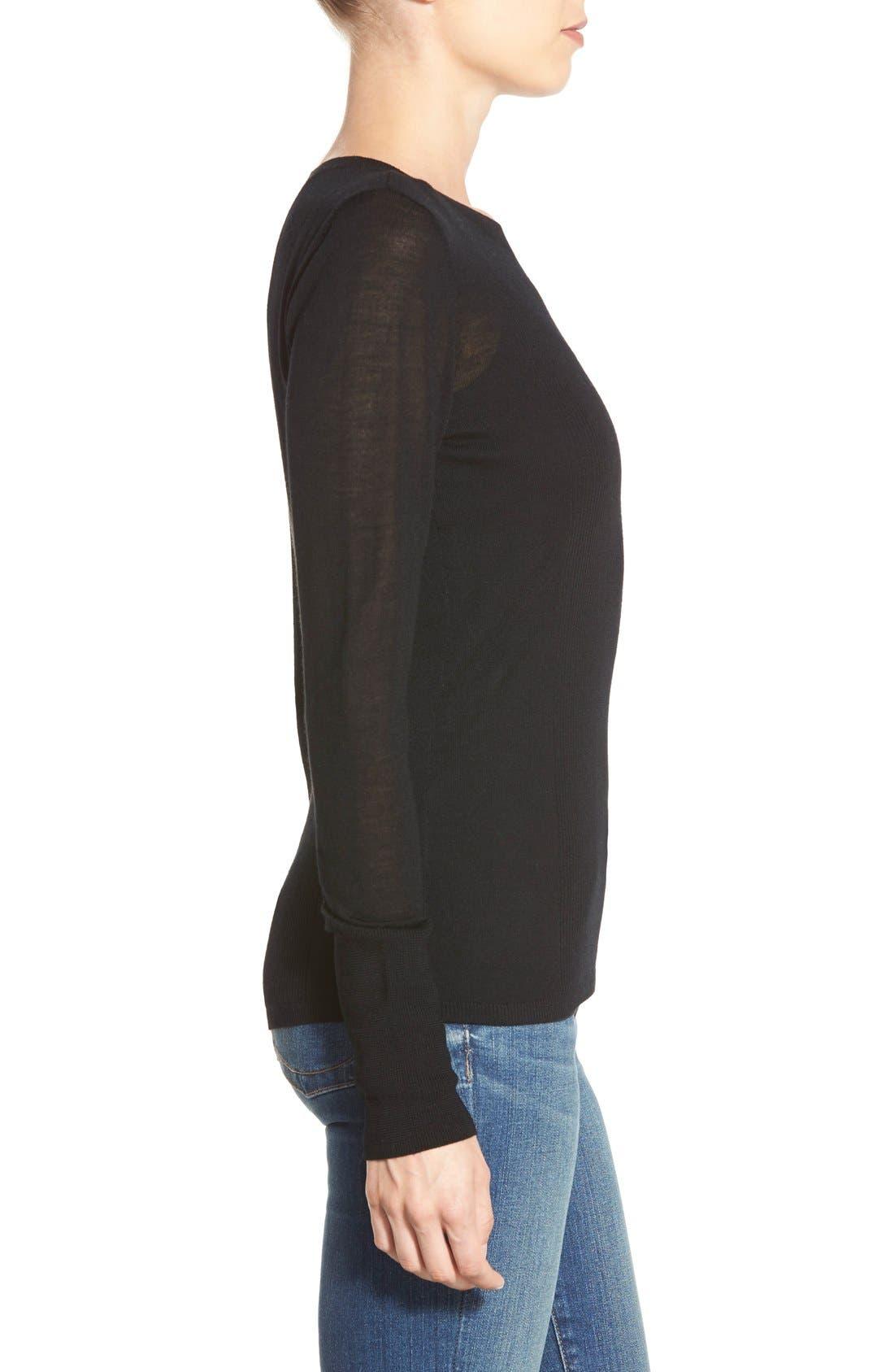 HALOGEN<SUP>®</SUP>,                             Rib Detail Lightweight Merino Wool Sweater,                             Alternate thumbnail 4, color,                             001