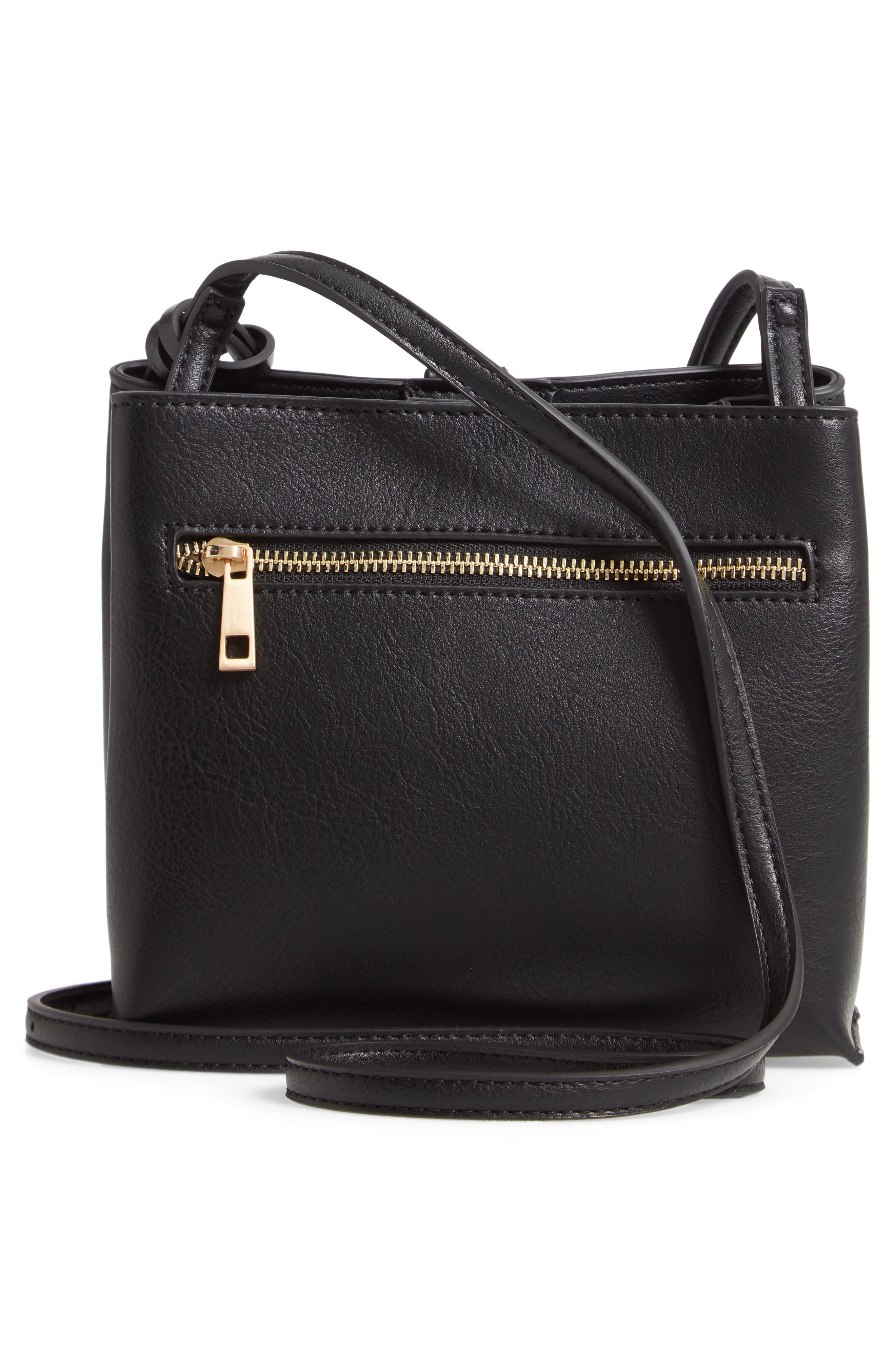 Faux Leather Crossbody Bag,                             Alternate thumbnail 3, color,                             001