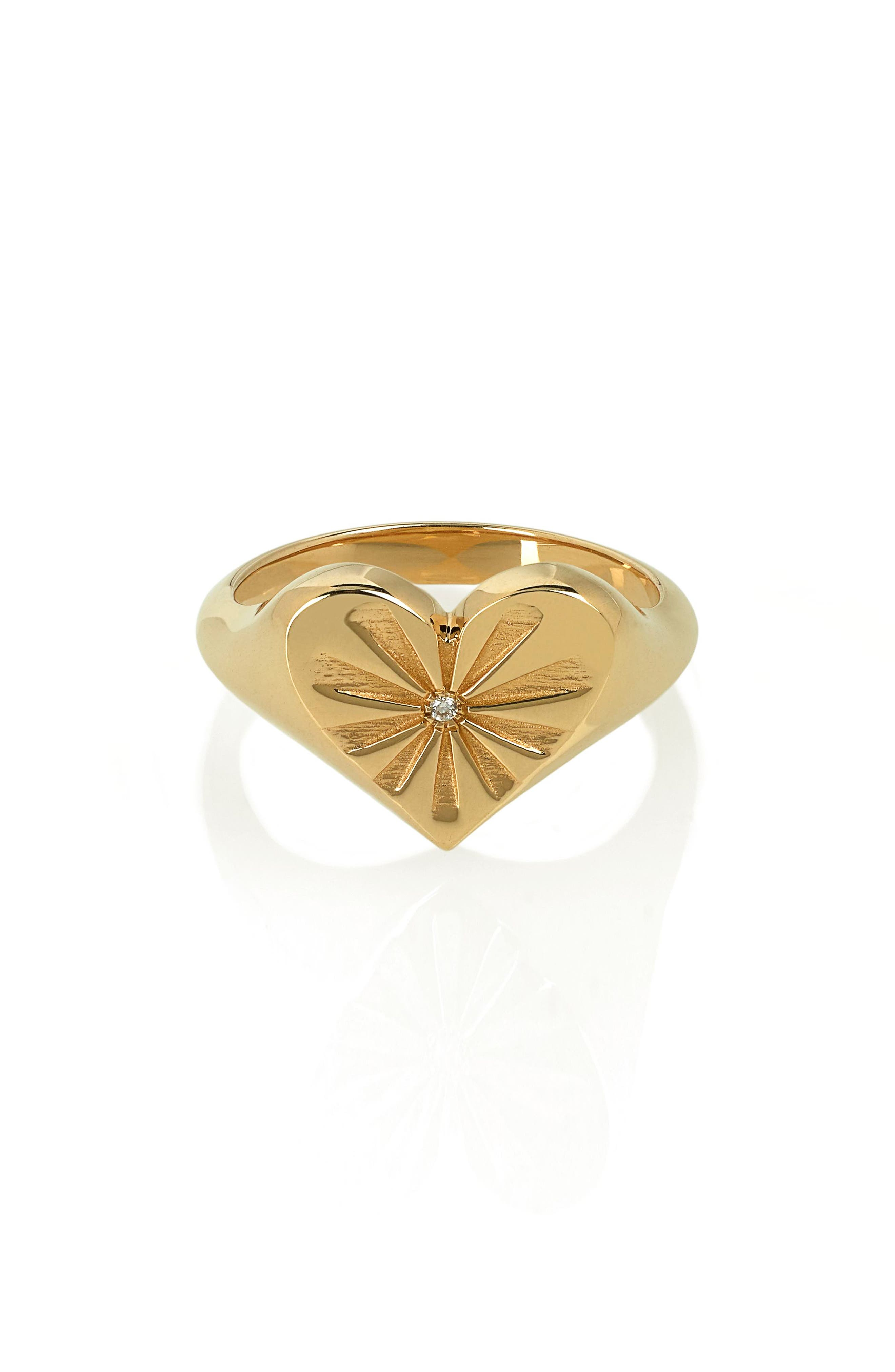 Heart Pinky Ring,                         Main,                         color, YELLOW GOLD