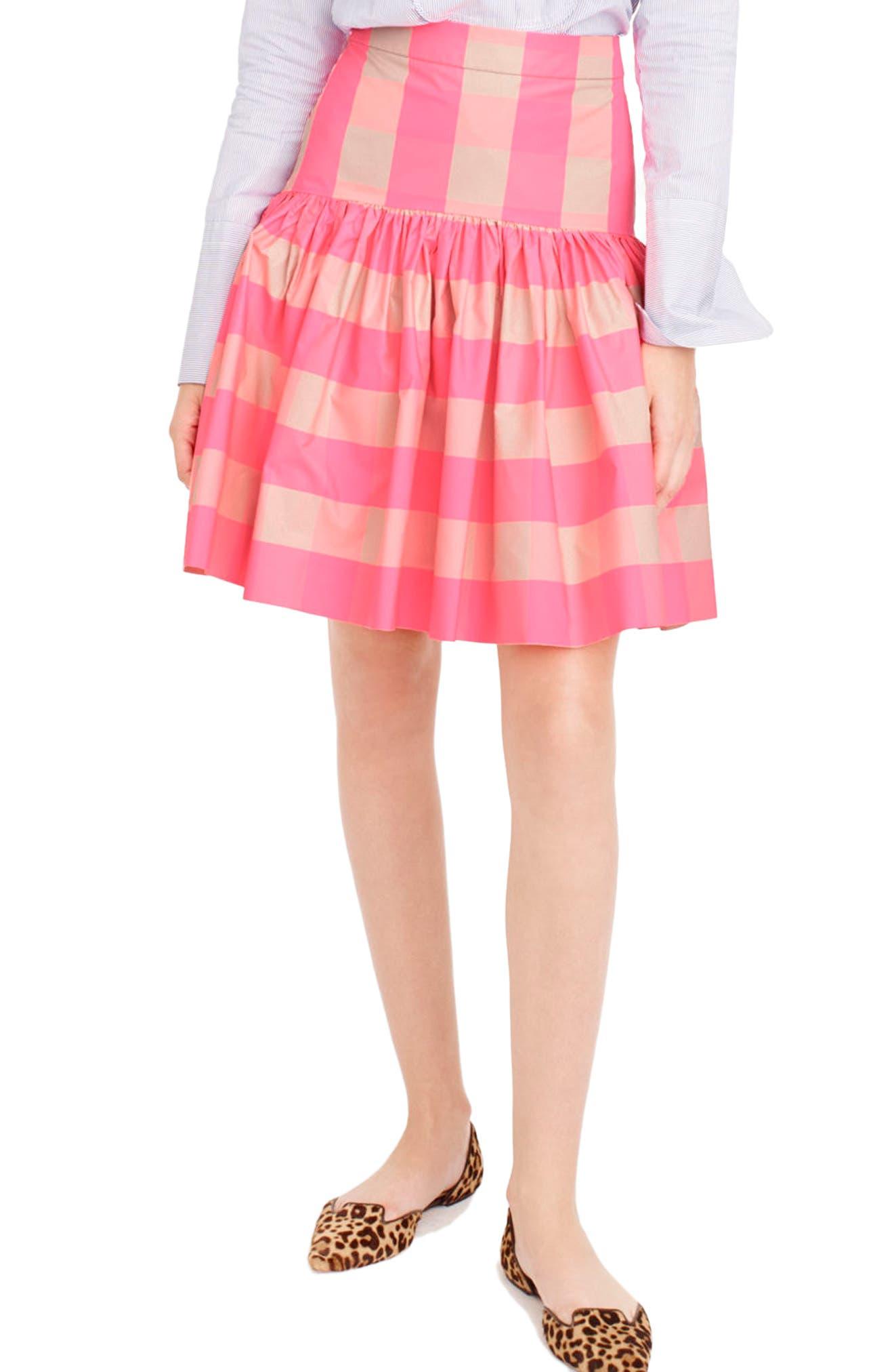 Neon Buffalo Check Taffeta Skirt,                             Main thumbnail 1, color,                             651
