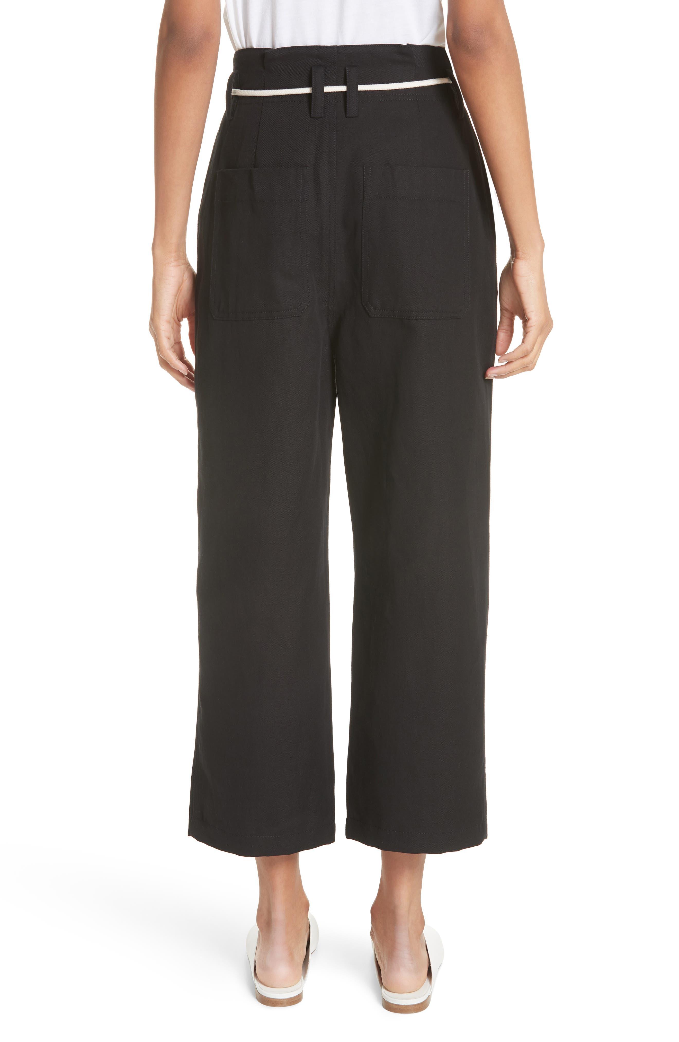 High Rise Linen Cotton Crop Pants,                             Alternate thumbnail 2, color,                             BLACK