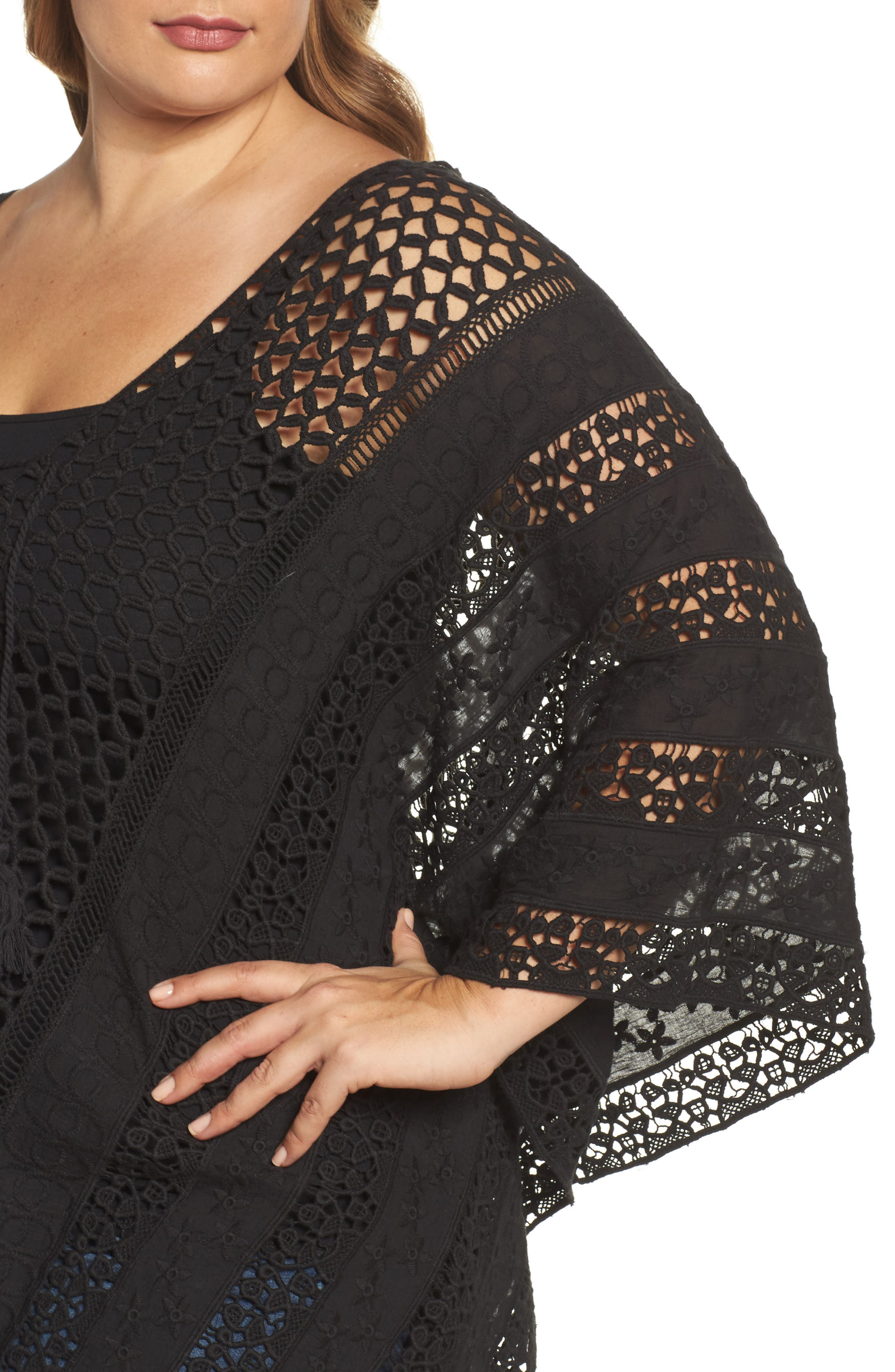 Jace Embroidered Cotton Poncho,                             Alternate thumbnail 4, color,                             001