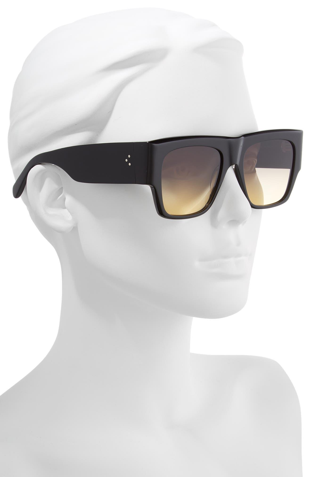 Céline 56mm Special Fit Gradient Flat Top Sunglasses,                             Alternate thumbnail 2, color,                             001