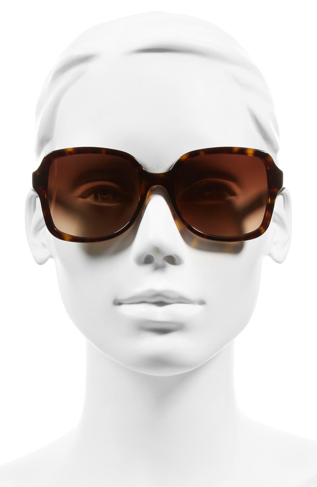 55mm Square Sunglasses,                             Alternate thumbnail 2, color,                             DARK TORTOISE