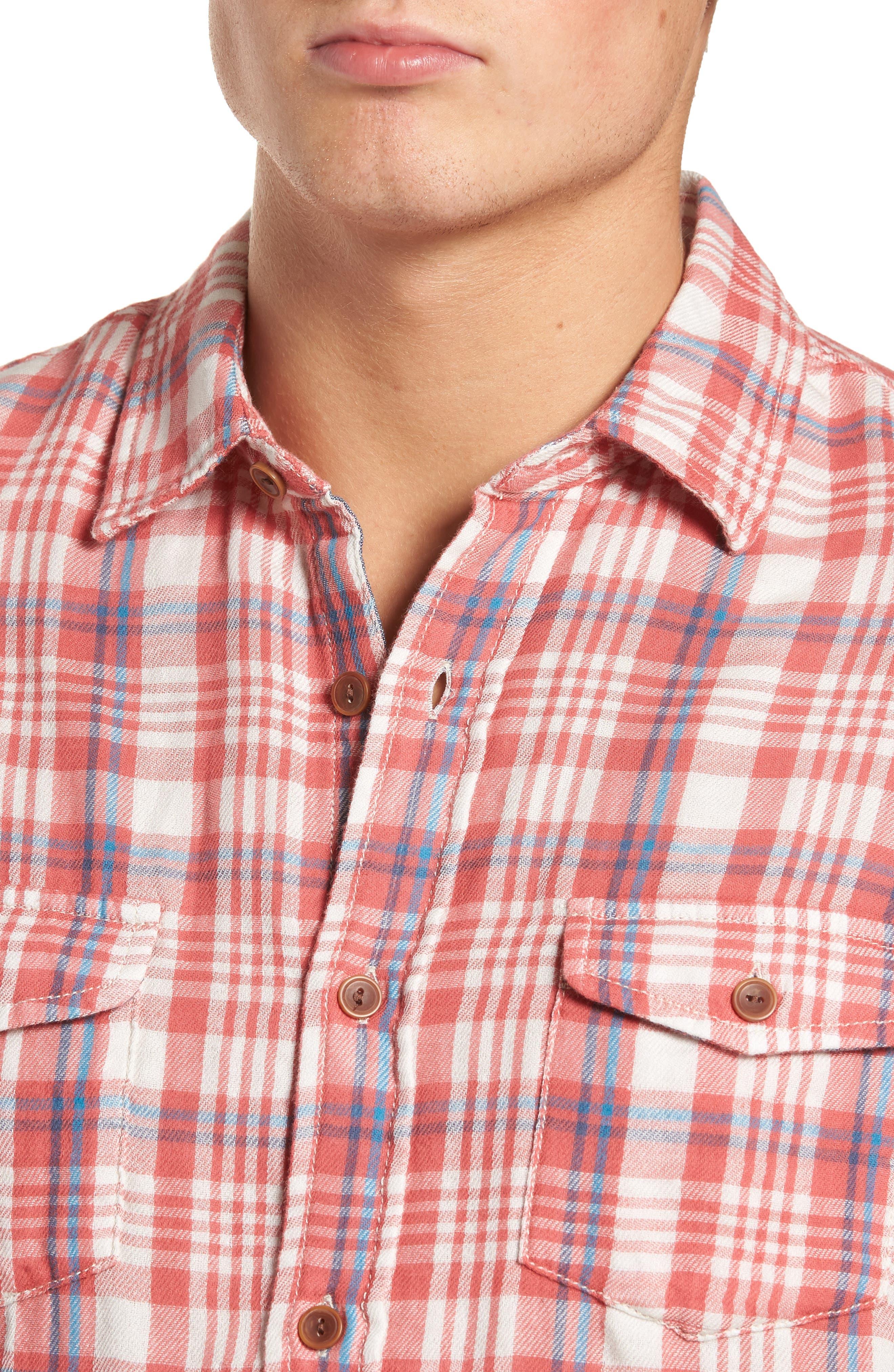 Barnard Slim Fit Plaid Sport Shirt,                             Alternate thumbnail 4, color,                             647