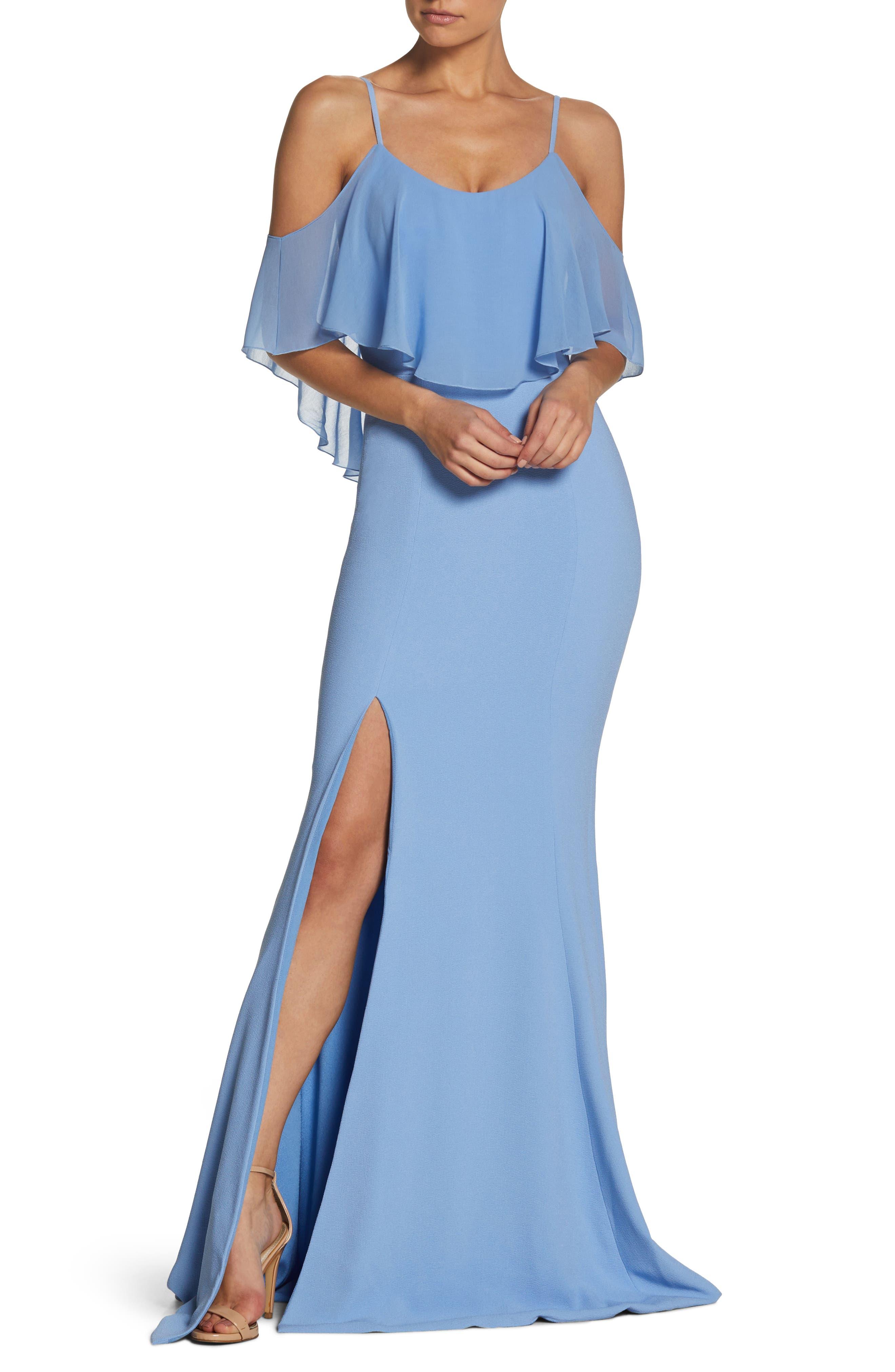 Dress The Population Diana Cold Shoulder Side Slit Gown, Blue