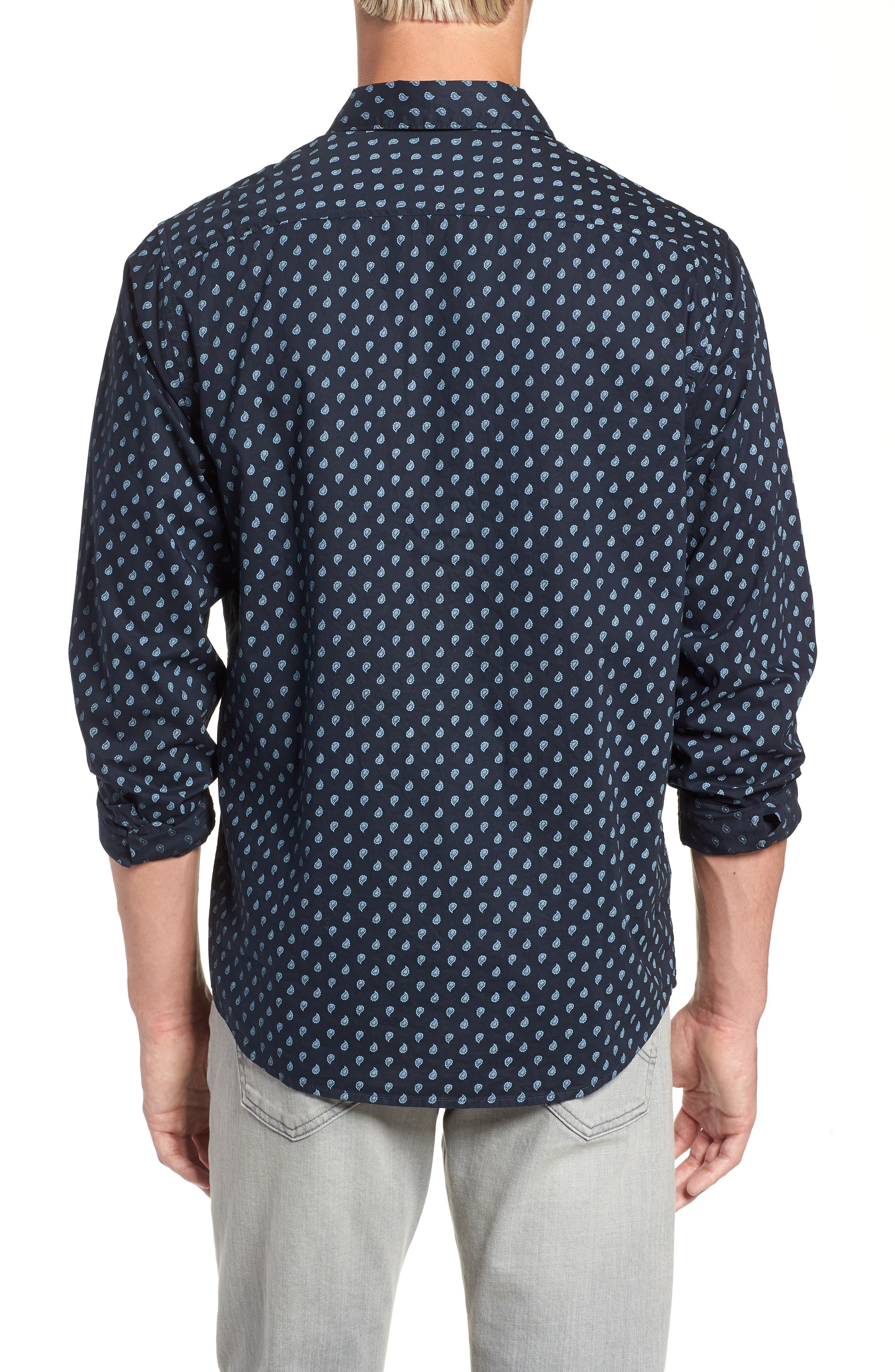Mini Paisley Woven Long Sleeve Shirt,                             Alternate thumbnail 3, color,                             402