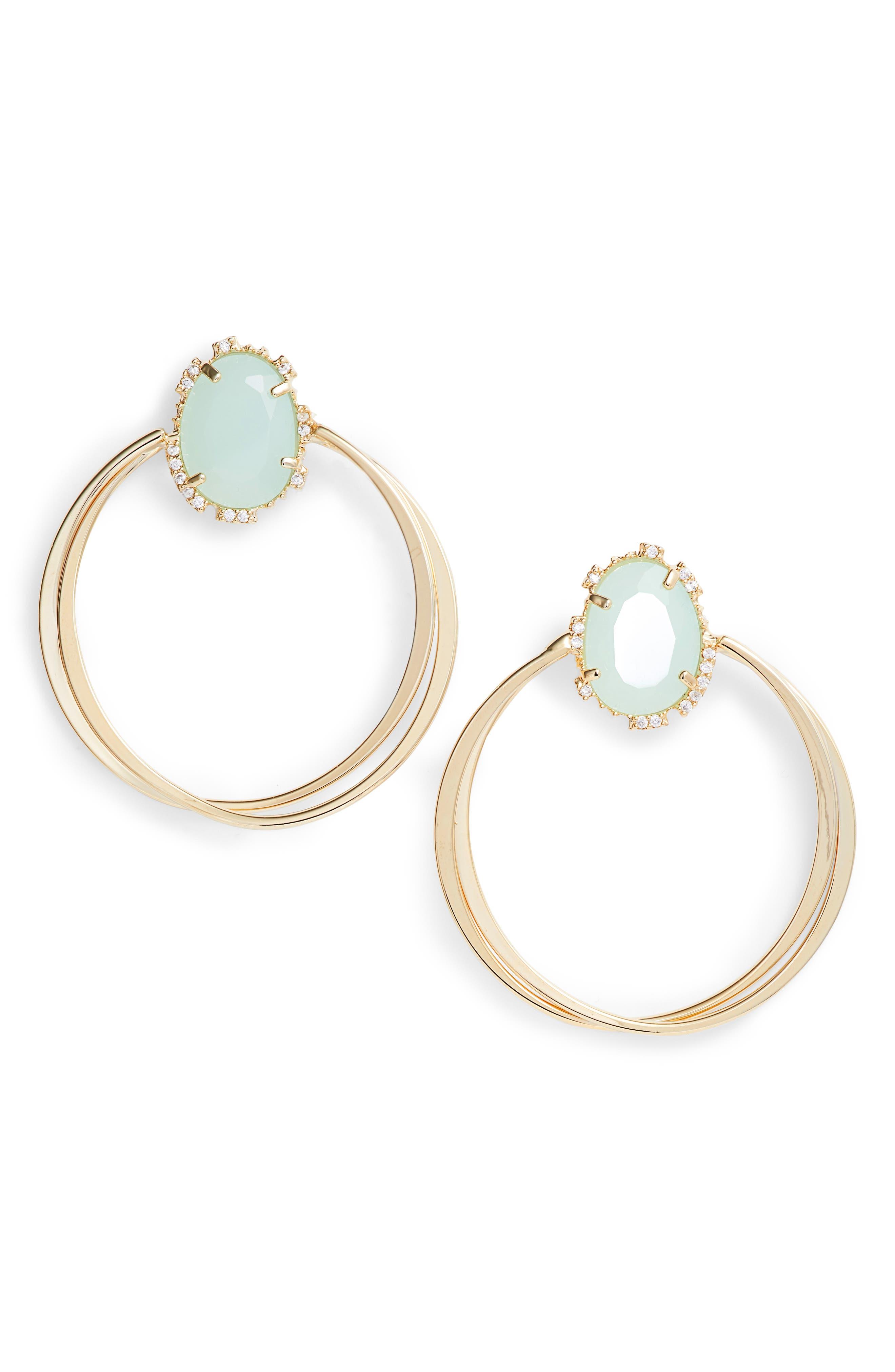 SEREFINA Crystal Hoop Earrings in Mint/ Gold