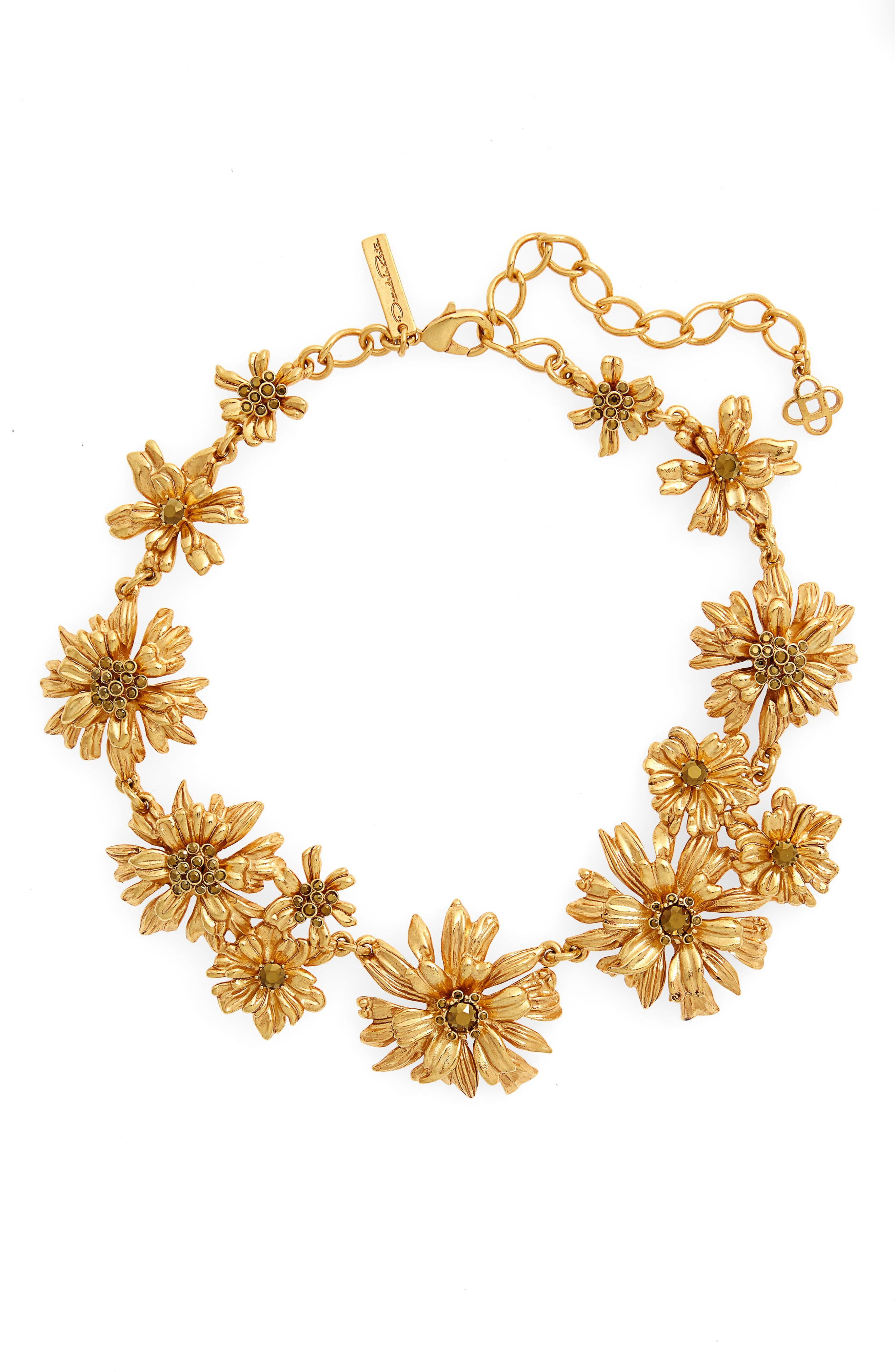 Crystal Flower Collar Necklace,                             Main thumbnail 1, color,                             GOLD