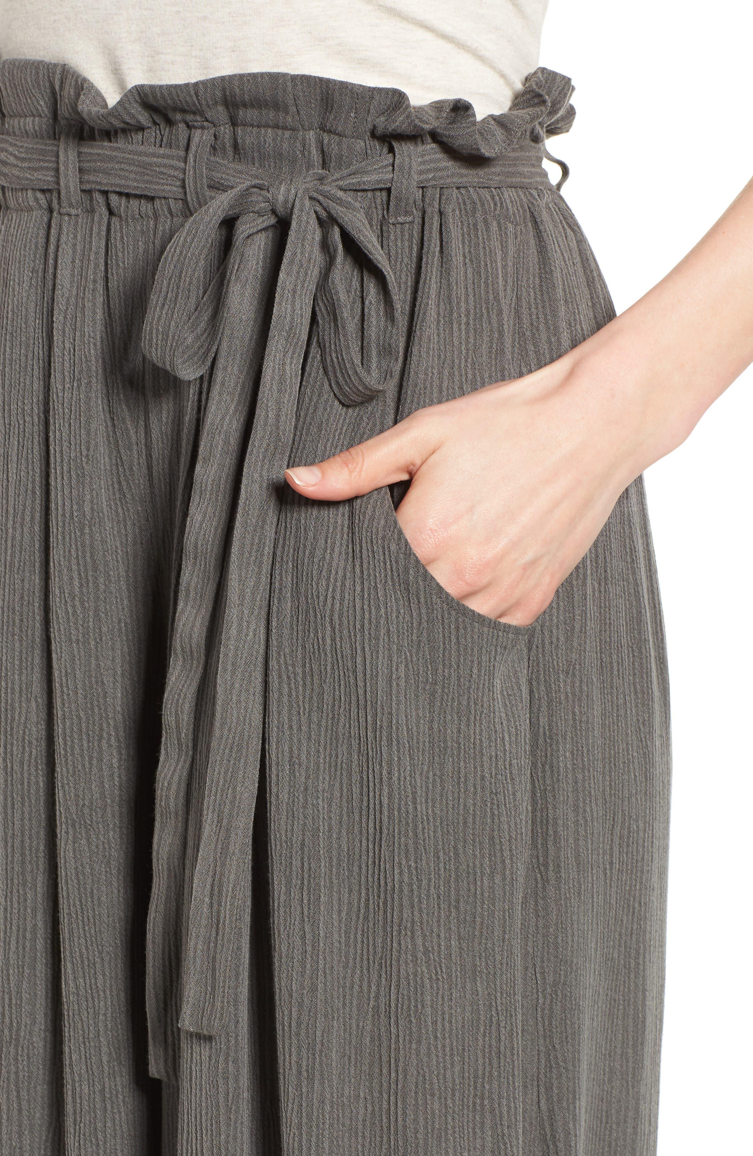 Tie Waist Culottes,                             Alternate thumbnail 4, color,                             010