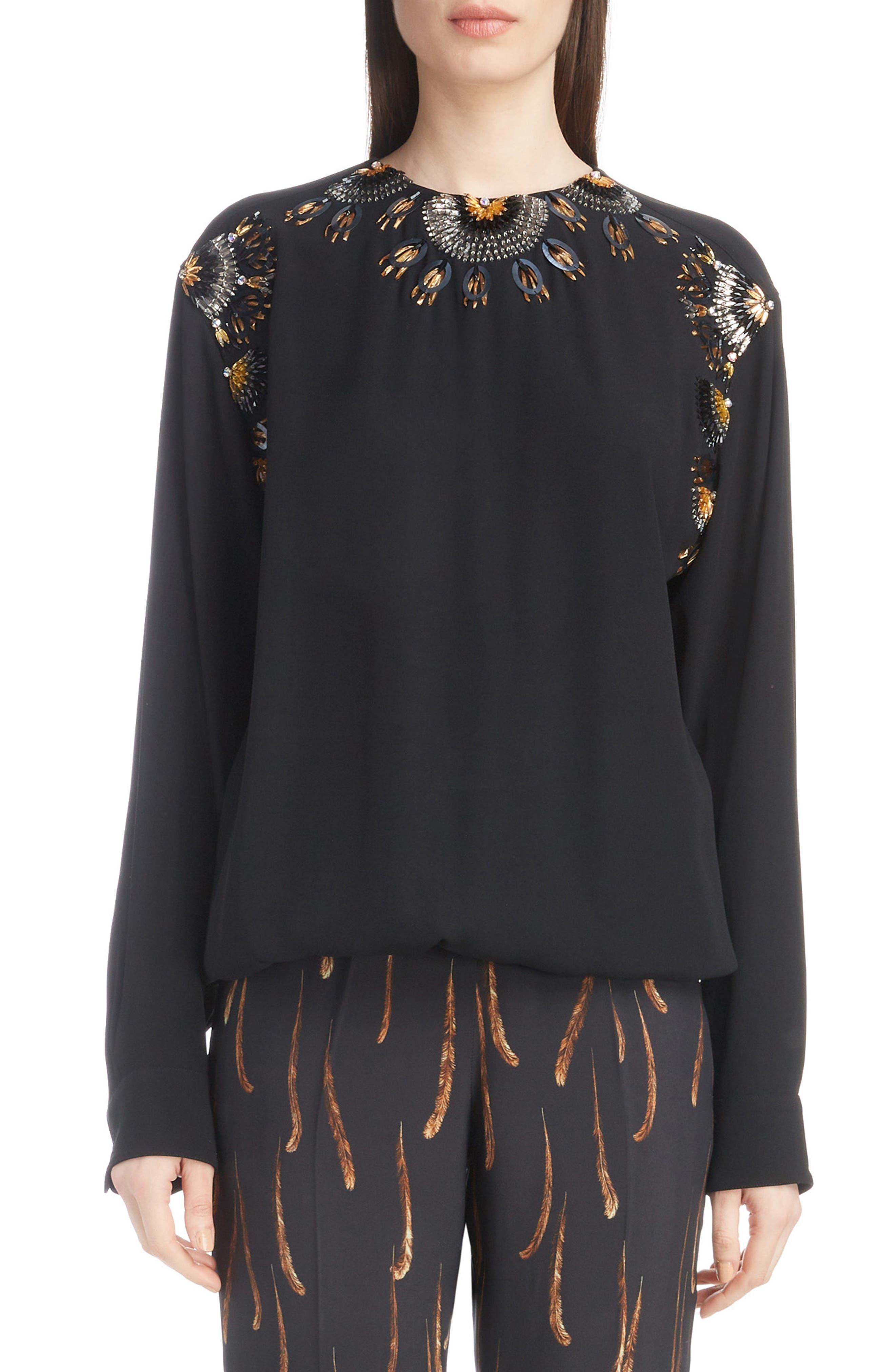 Starburst Embellished Blouse,                         Main,                         color, BLACK