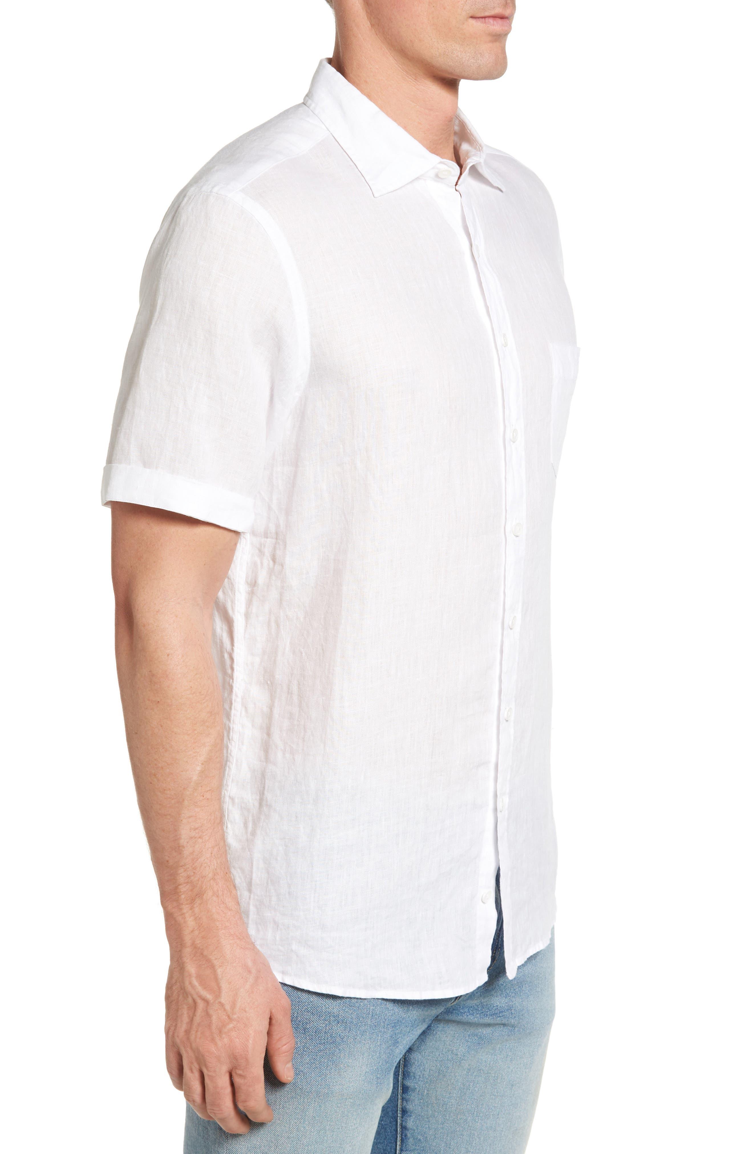 Abbotleight Linen Sport Shirt,                             Alternate thumbnail 3, color,                             SNOW
