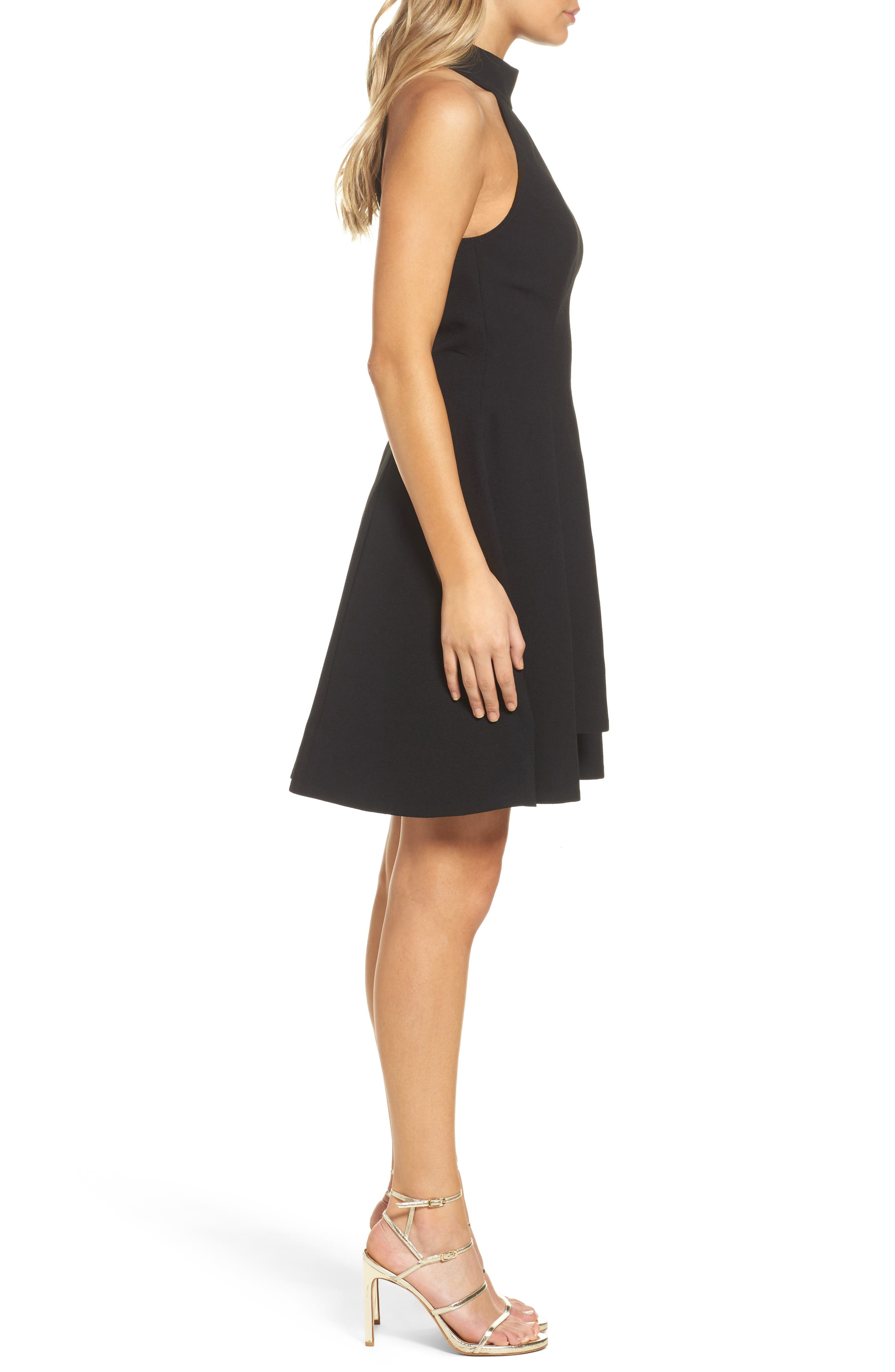 Fusion Halter Style Fit & Flare Dress,                             Alternate thumbnail 3, color,                             001