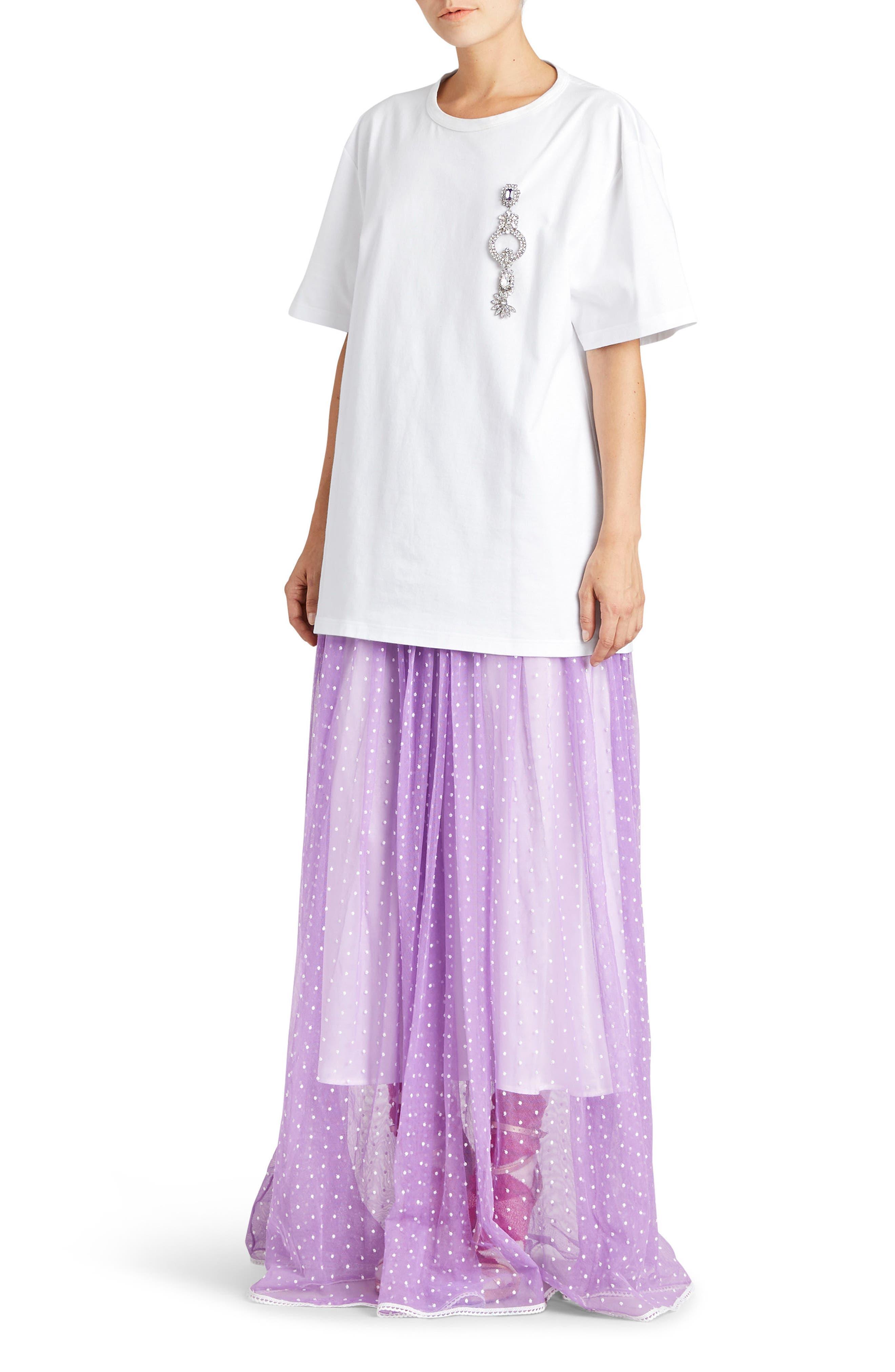 Flocked Tulle Maxi Skirt,                             Alternate thumbnail 7, color,                             520