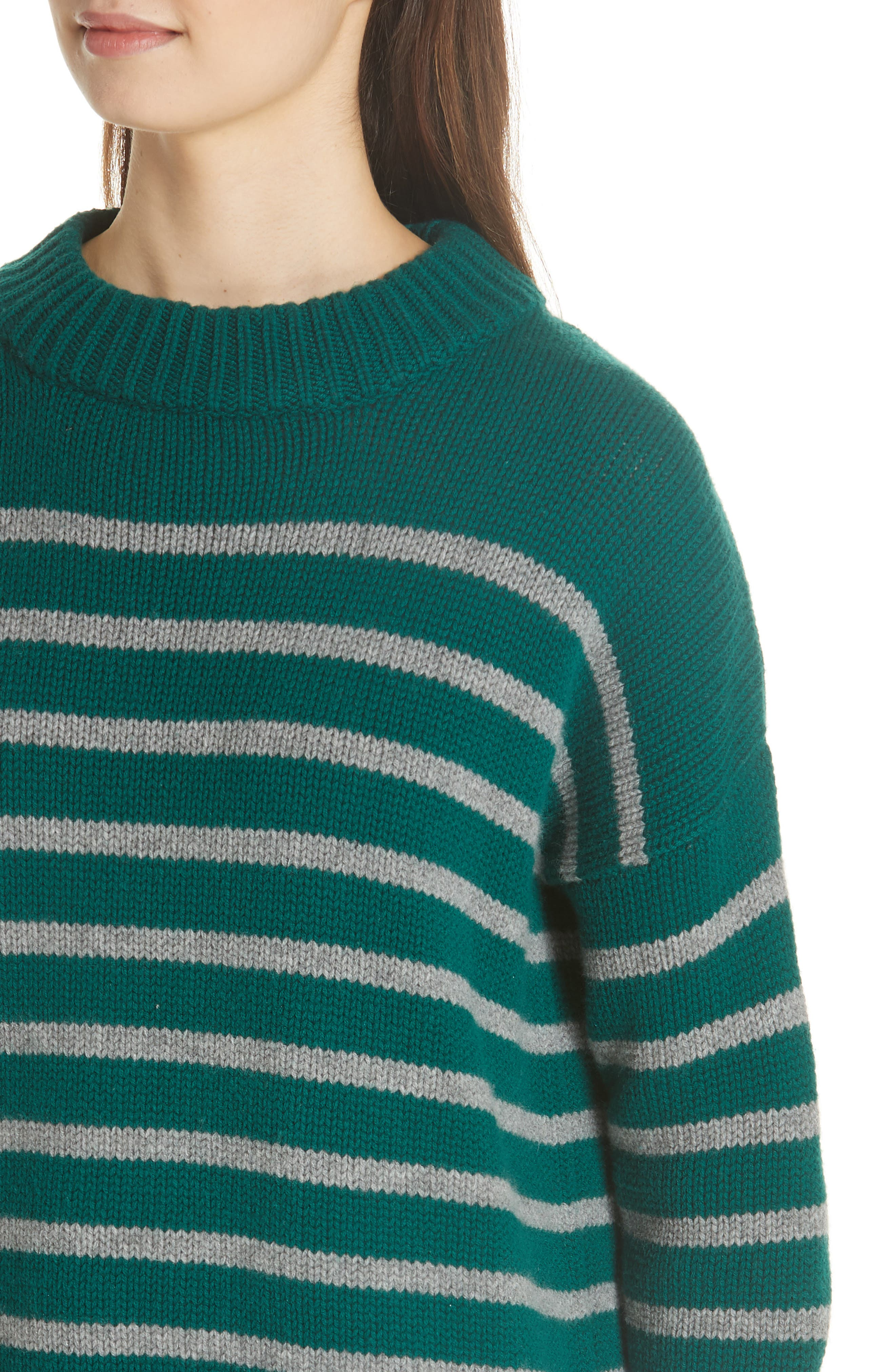 Marin Wool & Cashmere Sweater,                             Alternate thumbnail 4, color,                             FOREST GREEN/ GREY MARLE