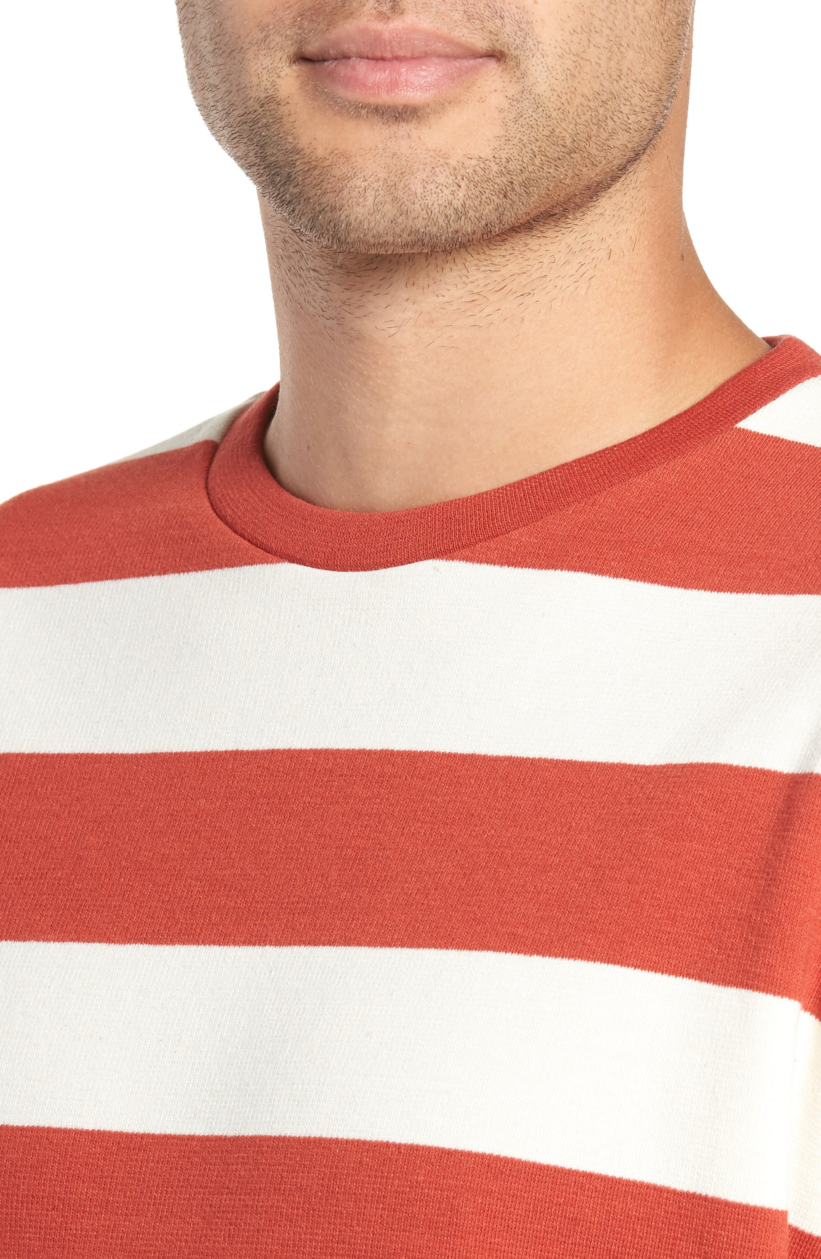 Stripe Crewneck Sweatshirt,                             Alternate thumbnail 4, color,                             ORANGE