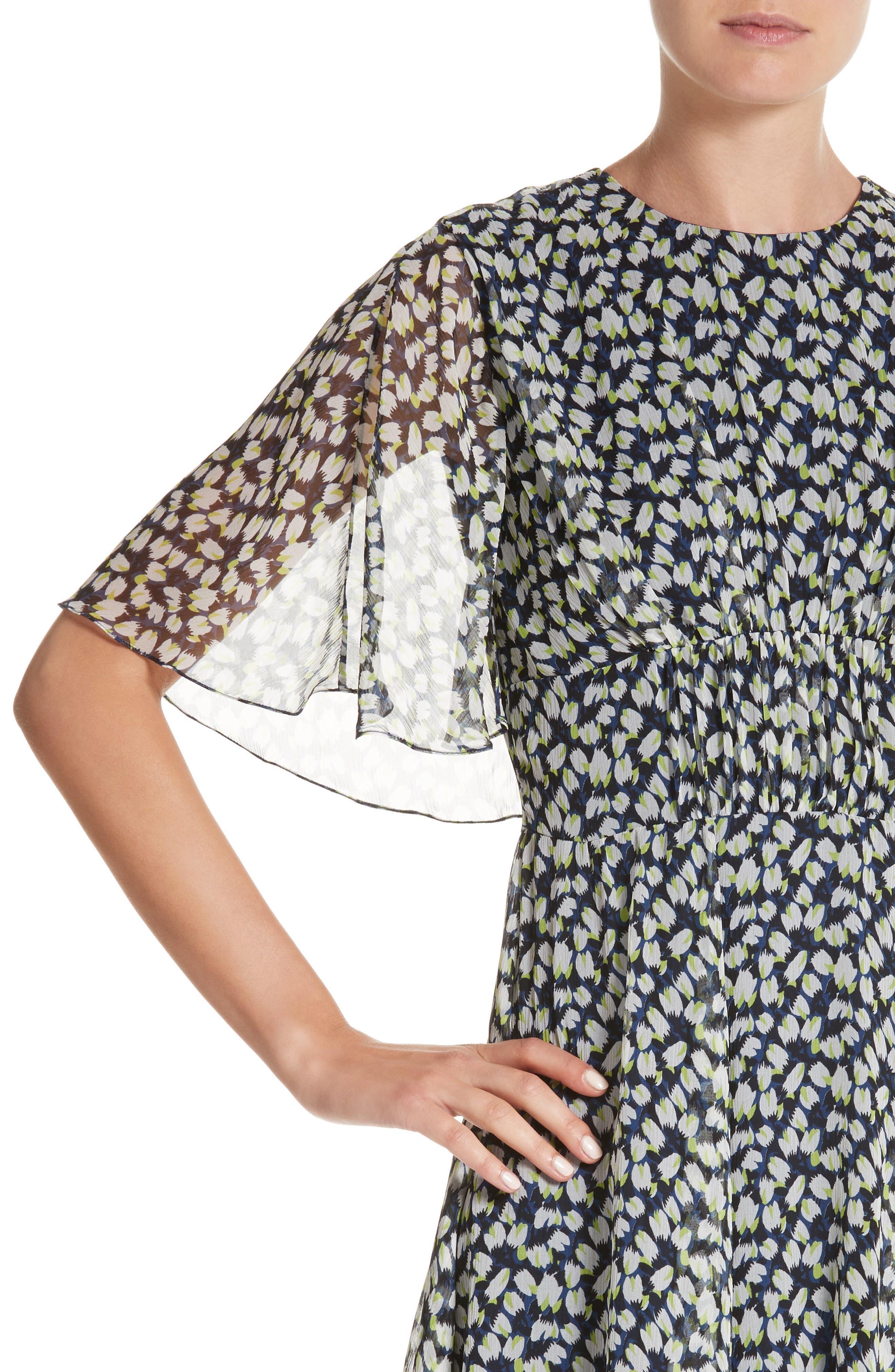 Print Silk Chiffon Day Dress,                             Alternate thumbnail 4, color,