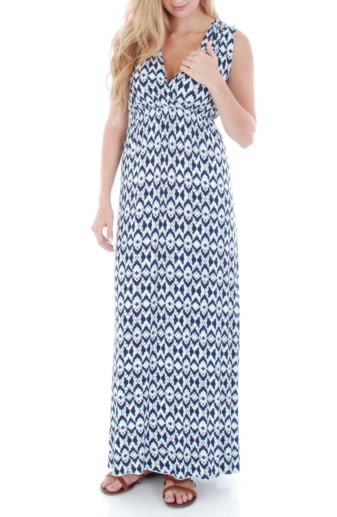'Jill' Maternity Maxi Dress,                             Alternate thumbnail 3, color,                             400