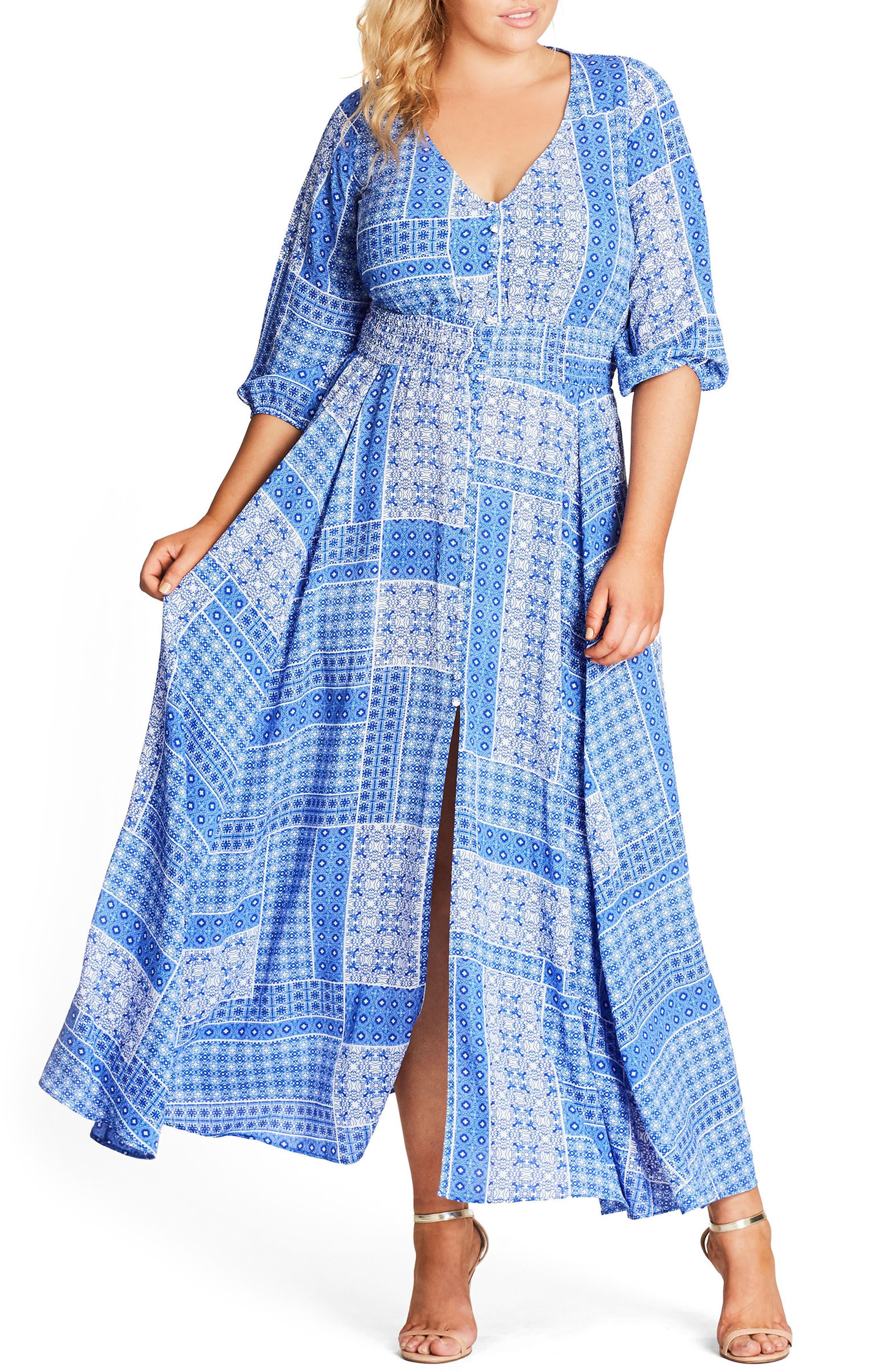 Plus Size City Chic China Plate A-Line Maxi Dress