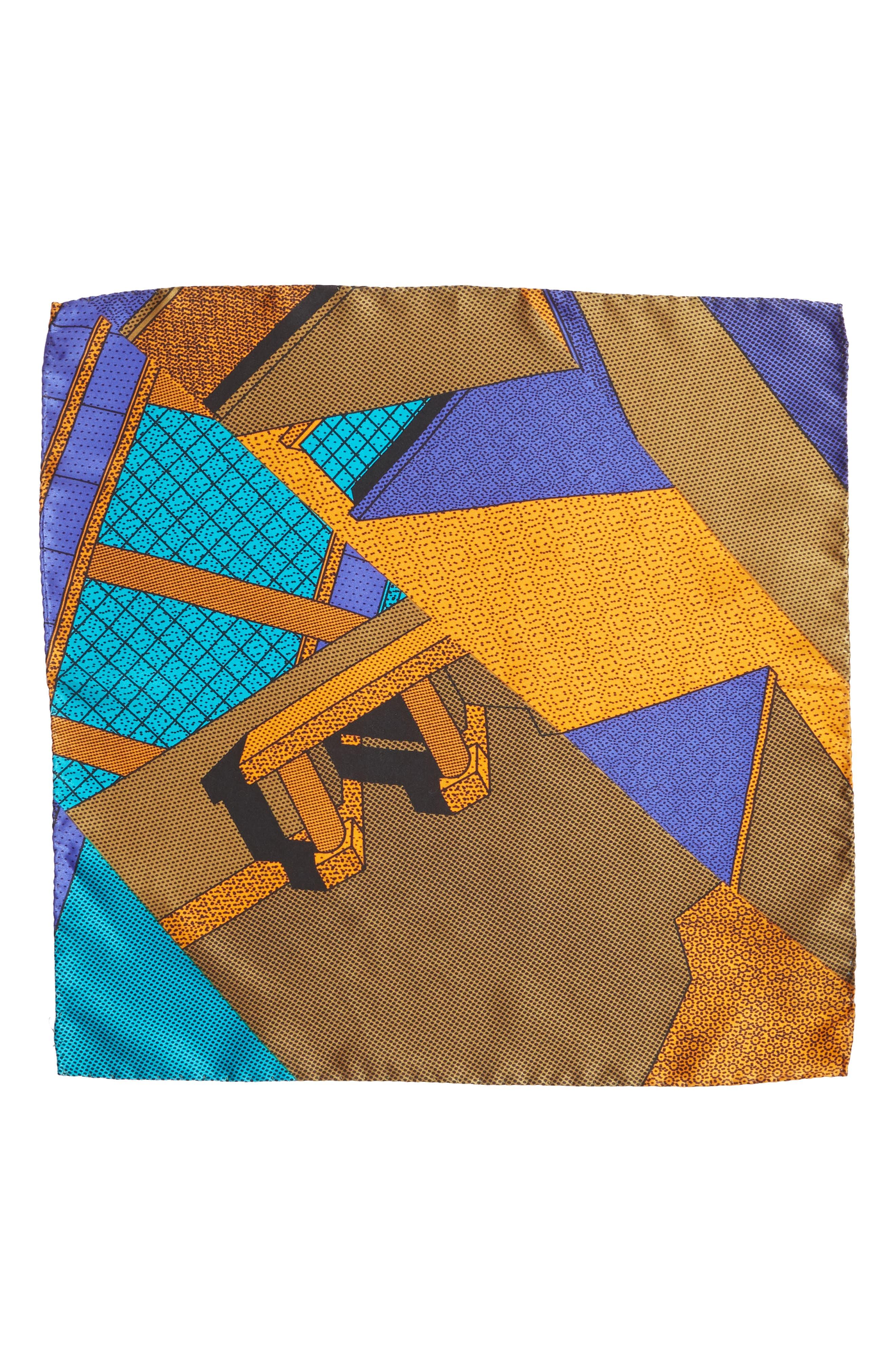 MEMPHIS Milano Pochette Silk Pocket Square,                             Alternate thumbnail 2, color,                             TEAL/ ORANGE