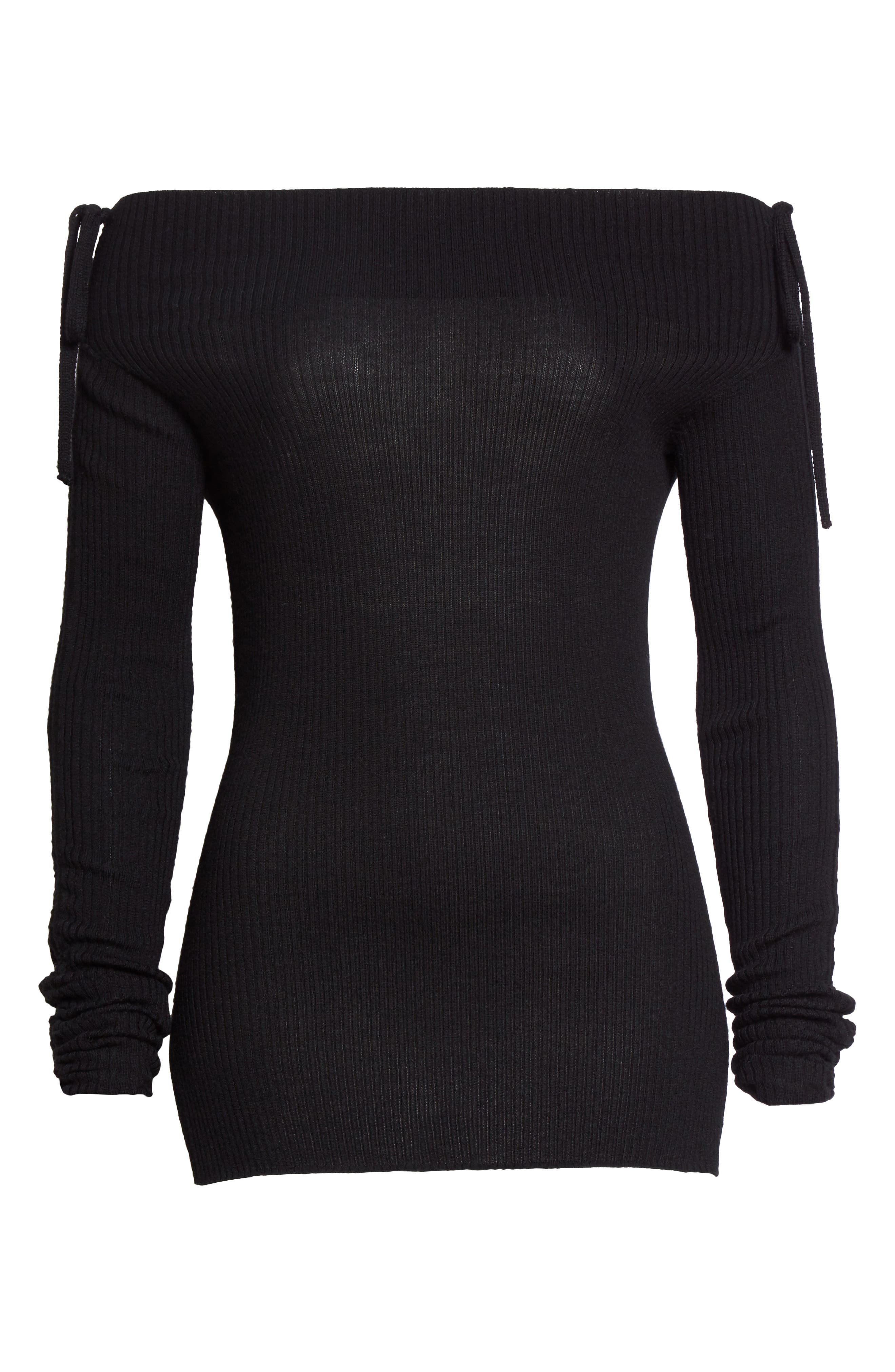 Merino Wool Off the Shoulder Sweater,                             Alternate thumbnail 6, color,                             001