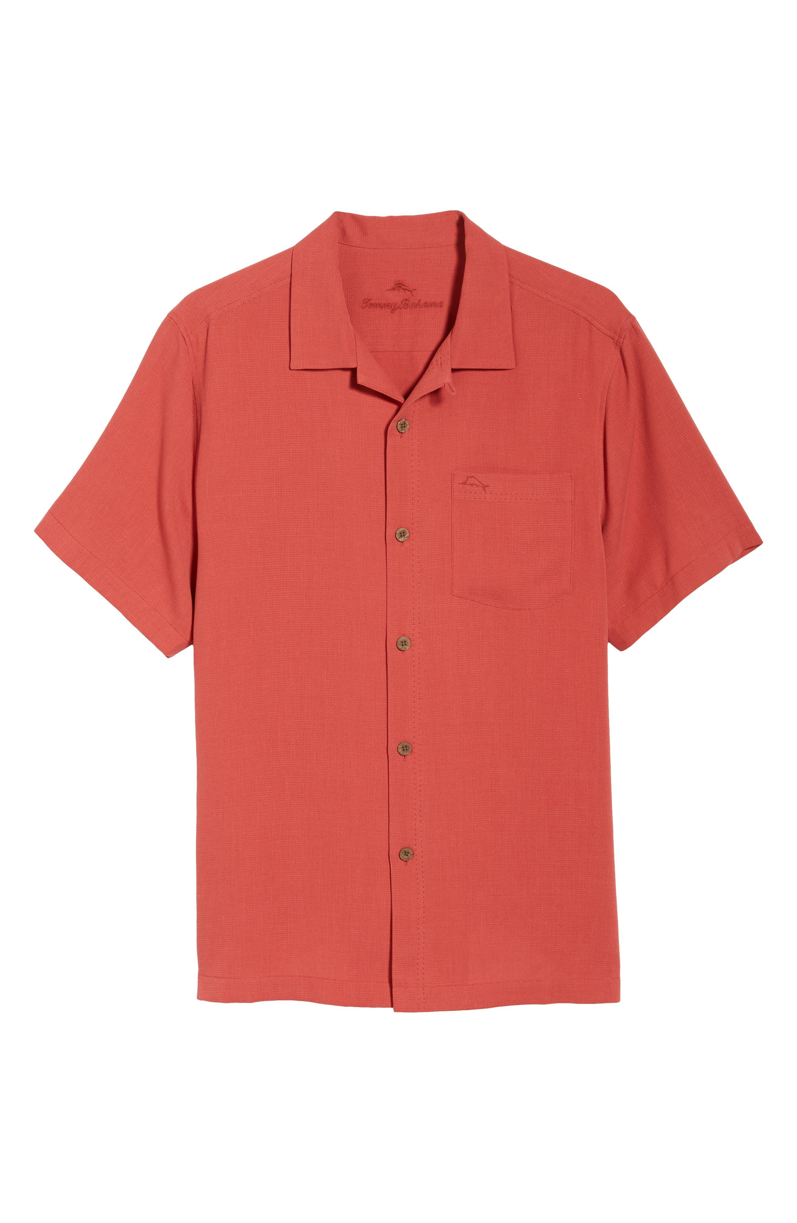 Royal Bermuda Silk Blend Camp Shirt,                             Alternate thumbnail 6, color,                             WILD GERANIUM